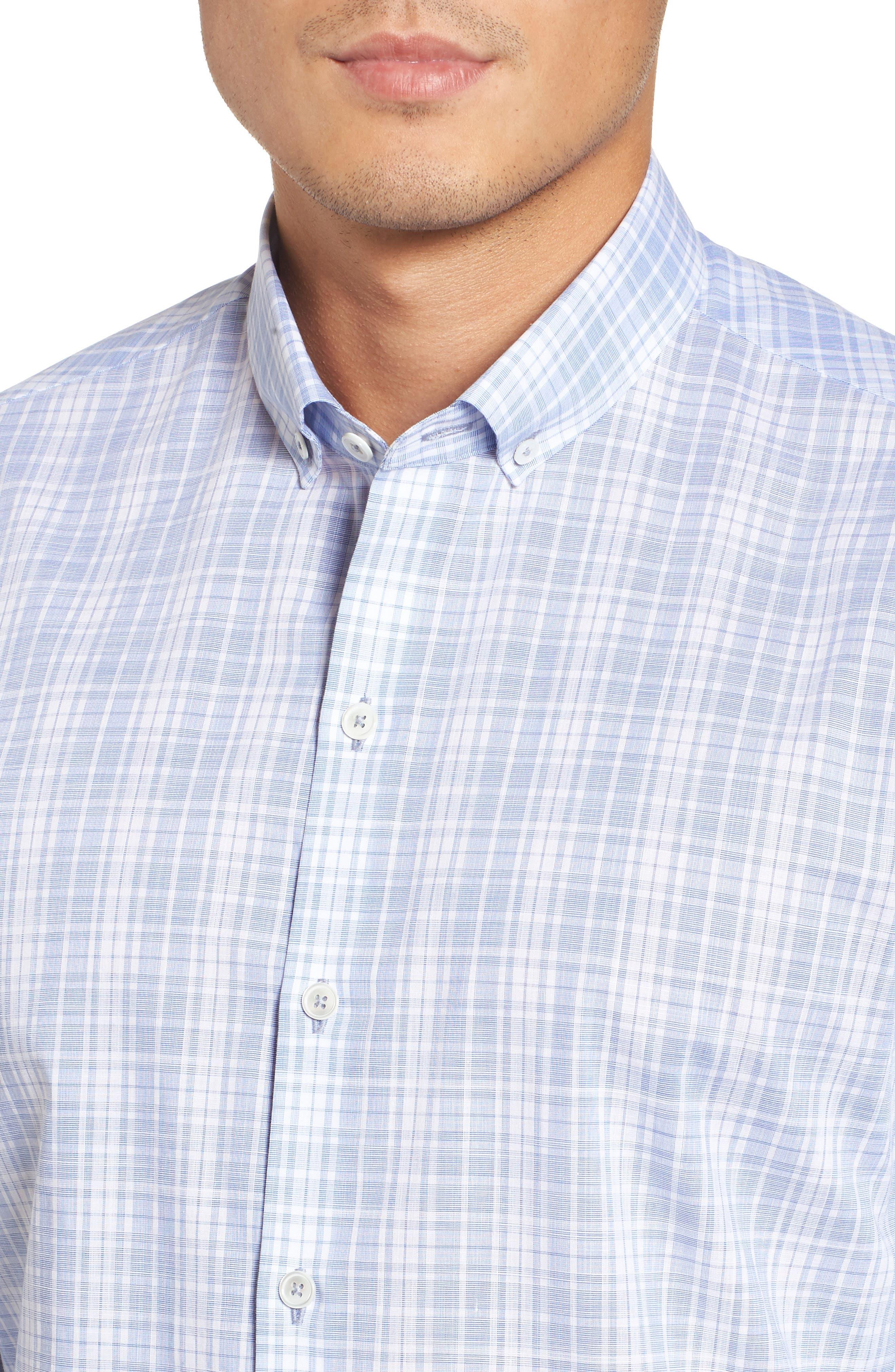 Cochran Slim Fit Plaid Sport Shirt,                             Alternate thumbnail 4, color,                             Blue