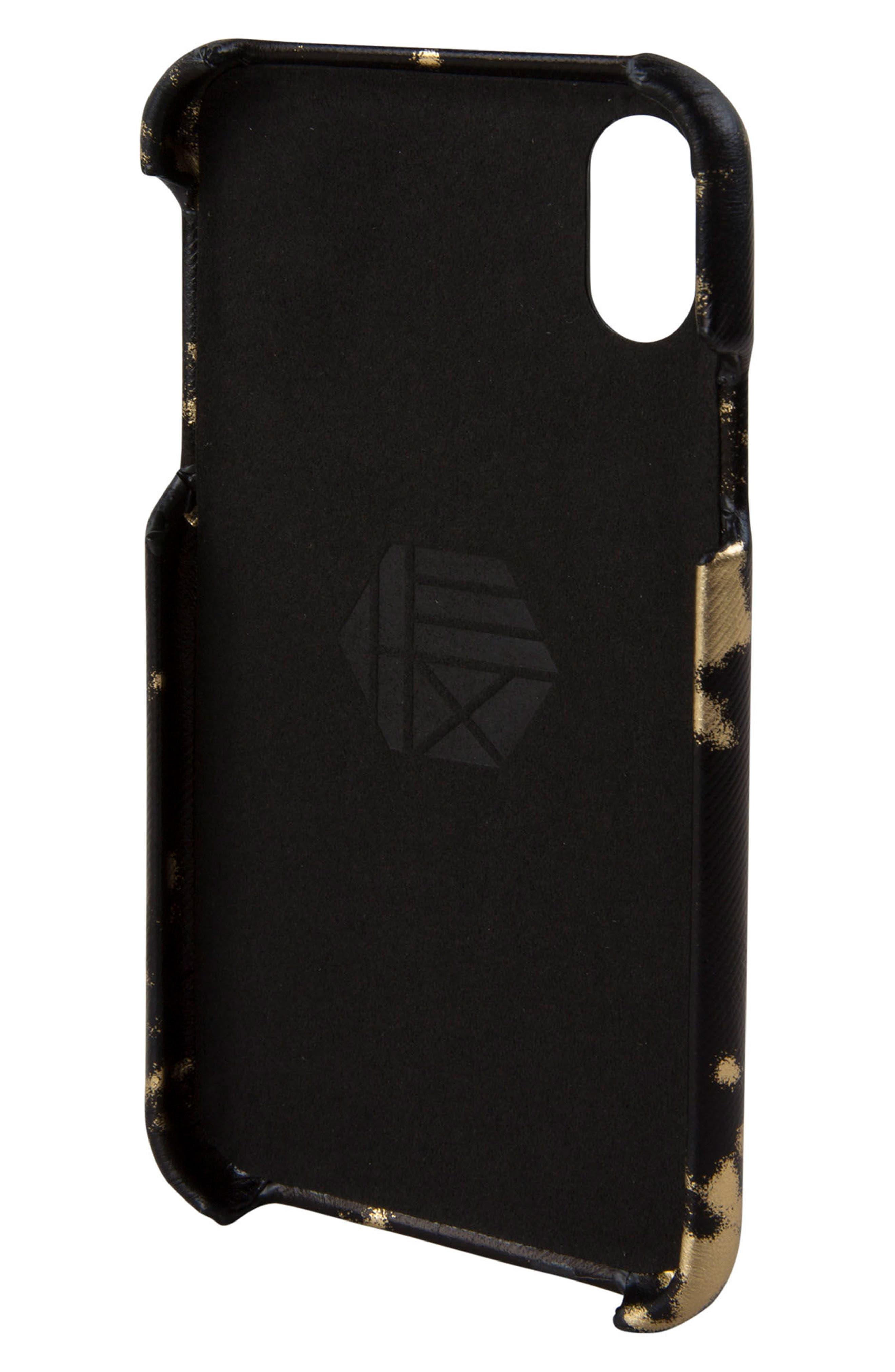 Solo iPhone X Wallet Case,                             Alternate thumbnail 3, color,                             Black/ Gold