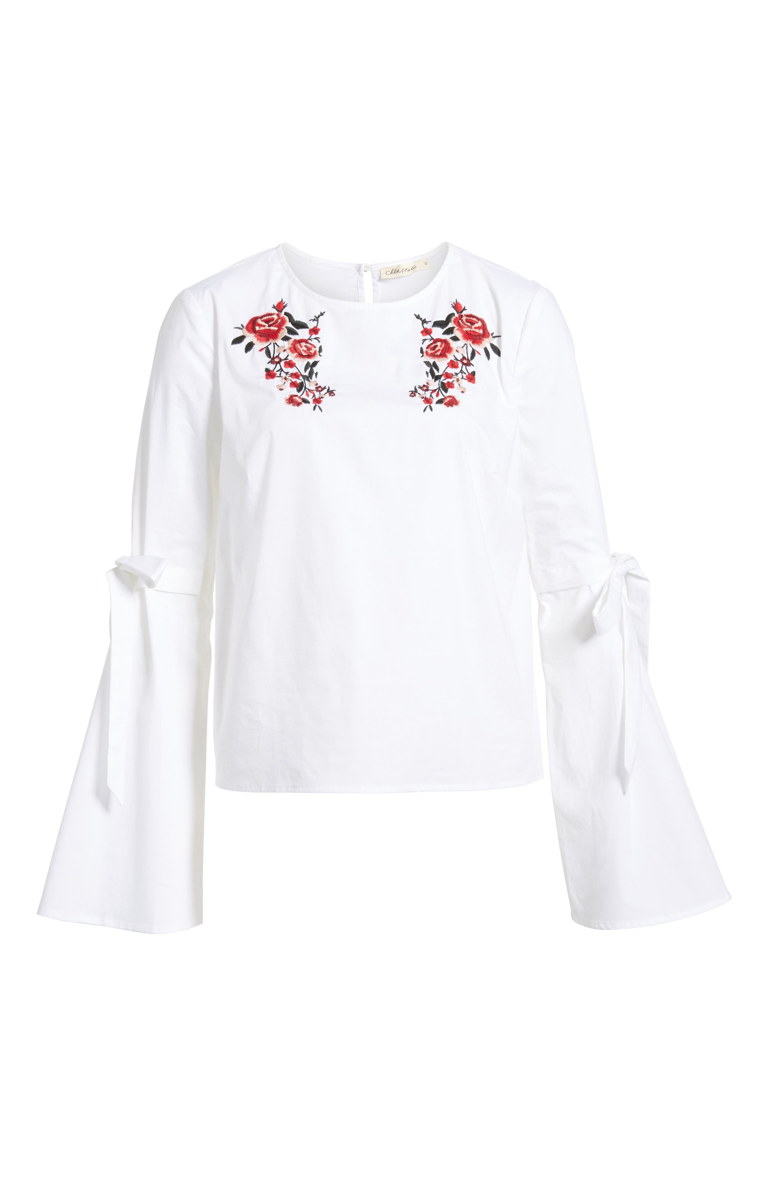 Floral Embroidery Bell Sleeve Top,                             Alternate thumbnail 6, color,                             White