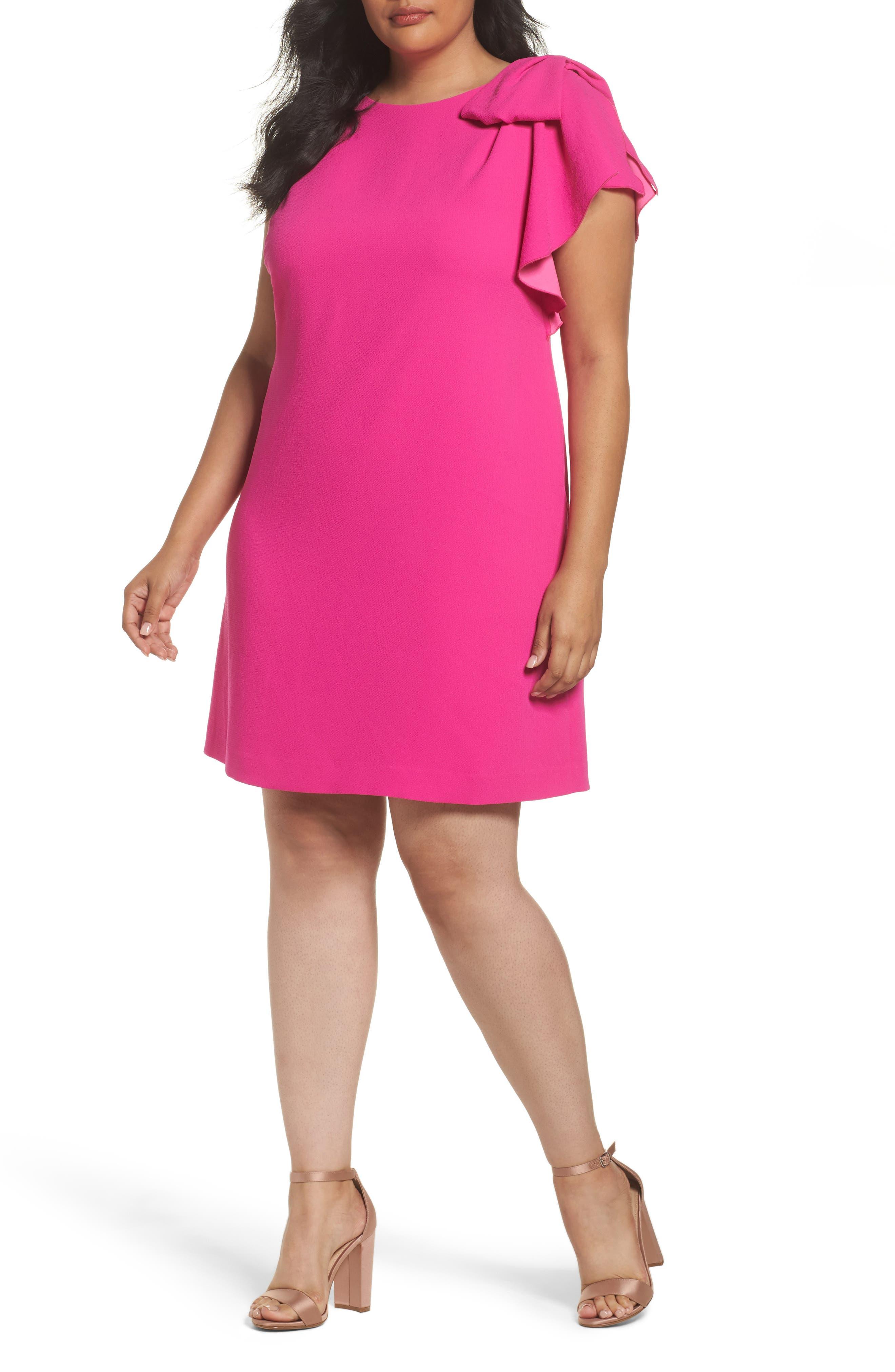 Alternate Image 1 Selected - Eliza J Shoulder Bow Shift Dress (Plus Size)