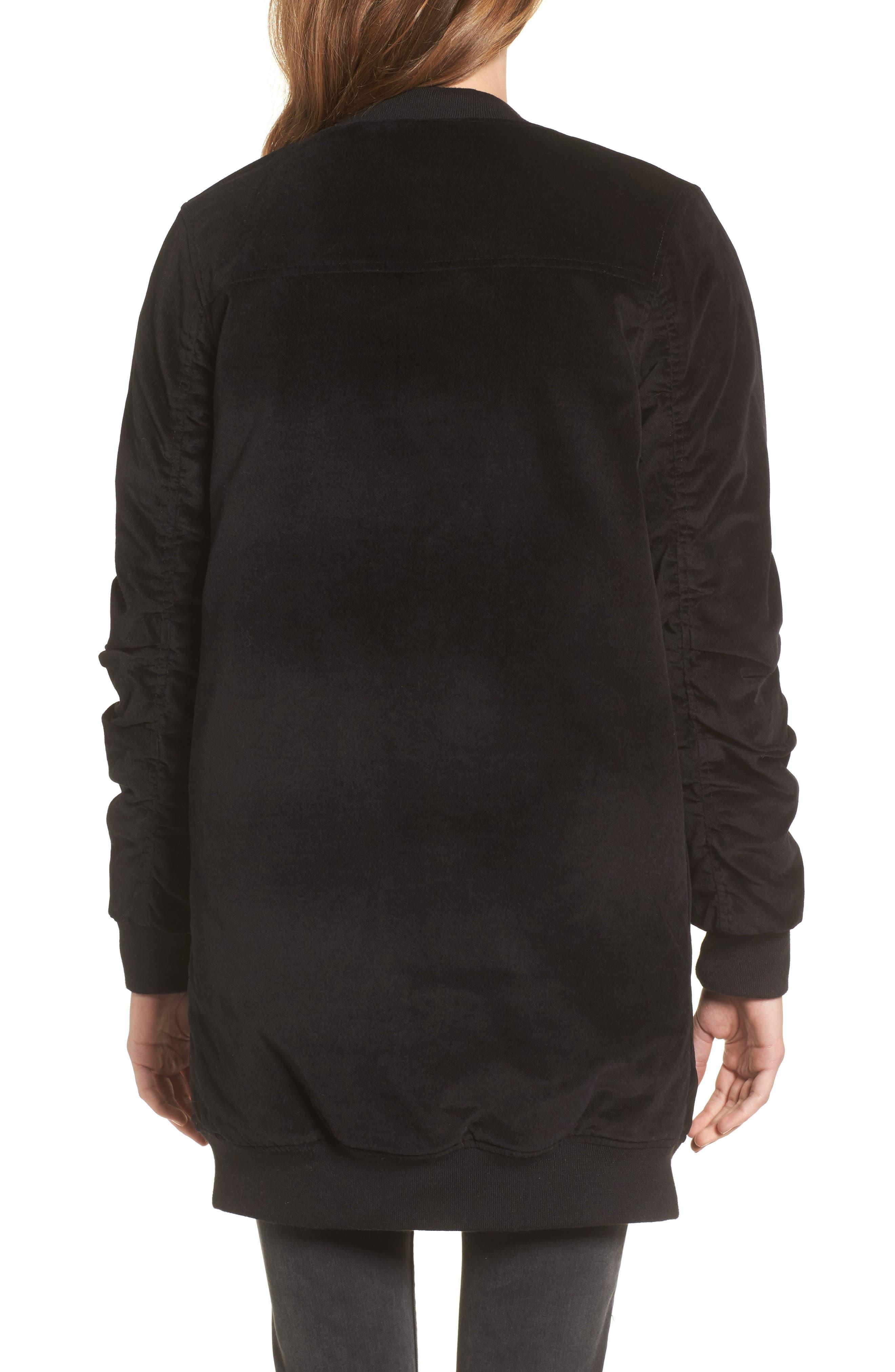 Alternate Image 2  - Stone Row Shir Thing Long Velvet Bomber