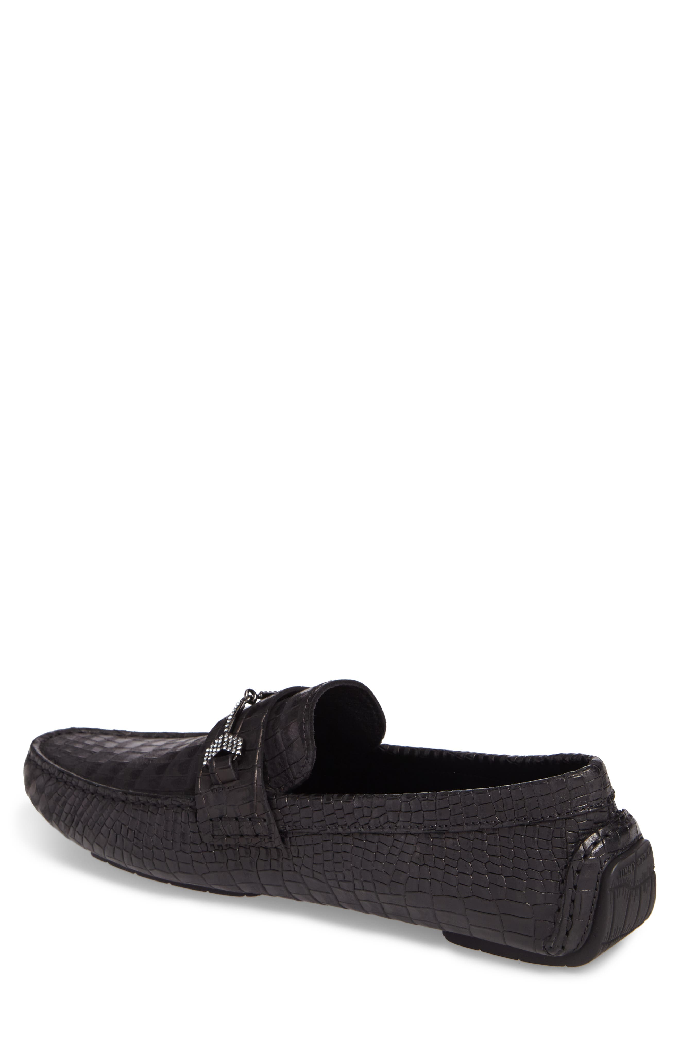 Brewer Croc Textured Driving Loafer,                             Alternate thumbnail 2, color,                             Black