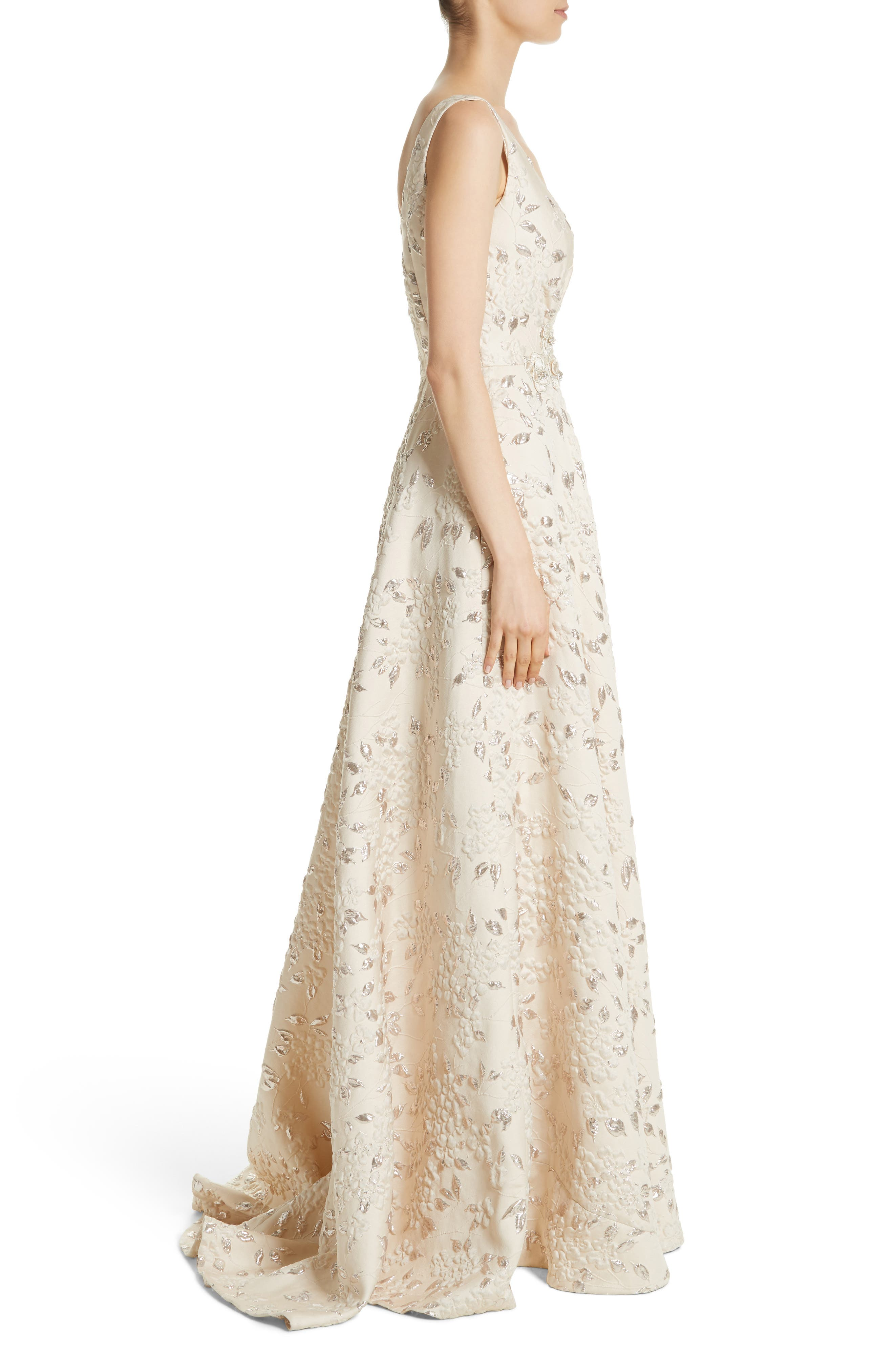 Alternate Image 3  - Carmen Marc Valvo Couture Reembroidered Cloqué Gown