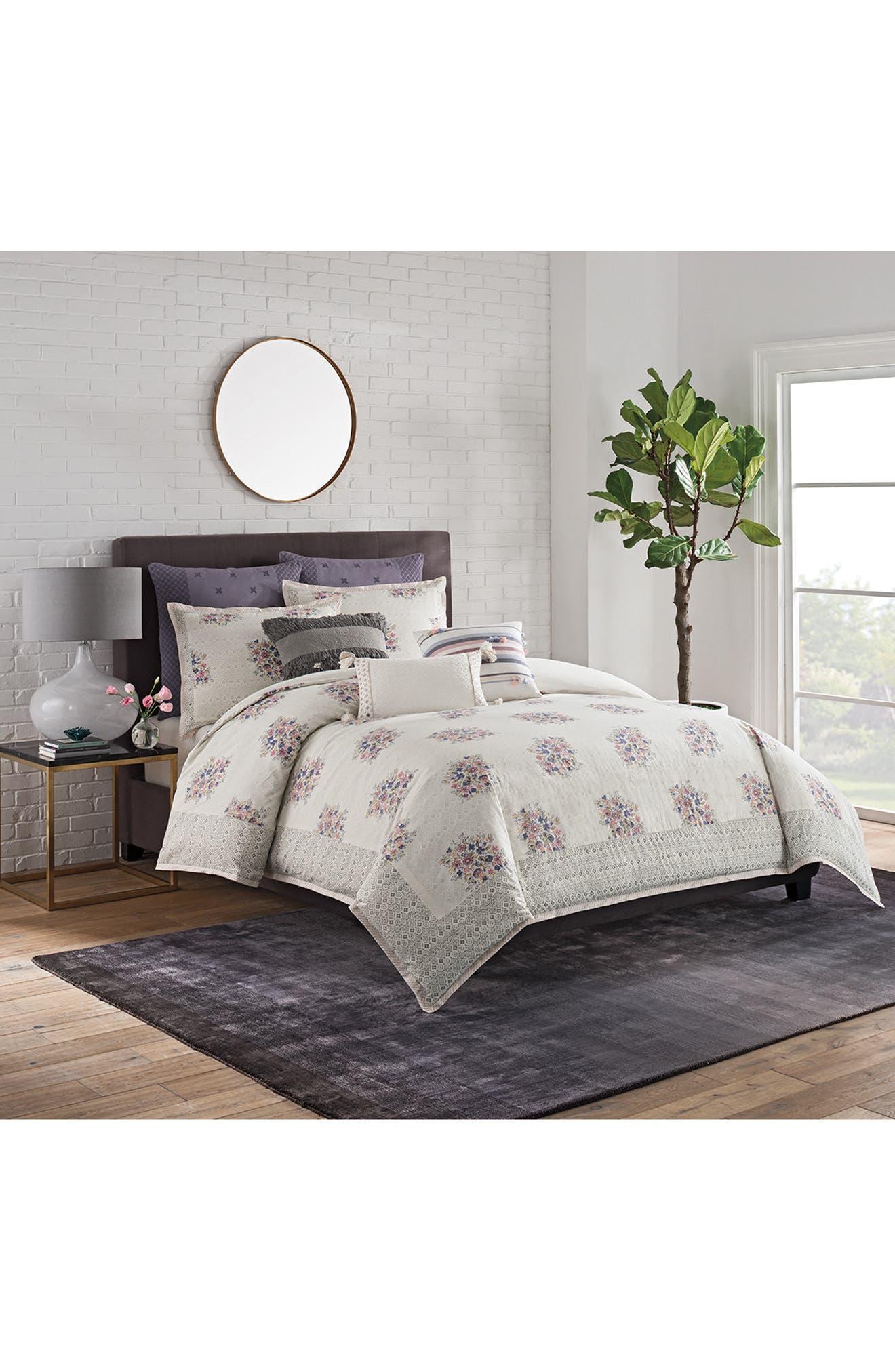 Block Print Floral Duvet Cover,                         Main,                         color, White Multi