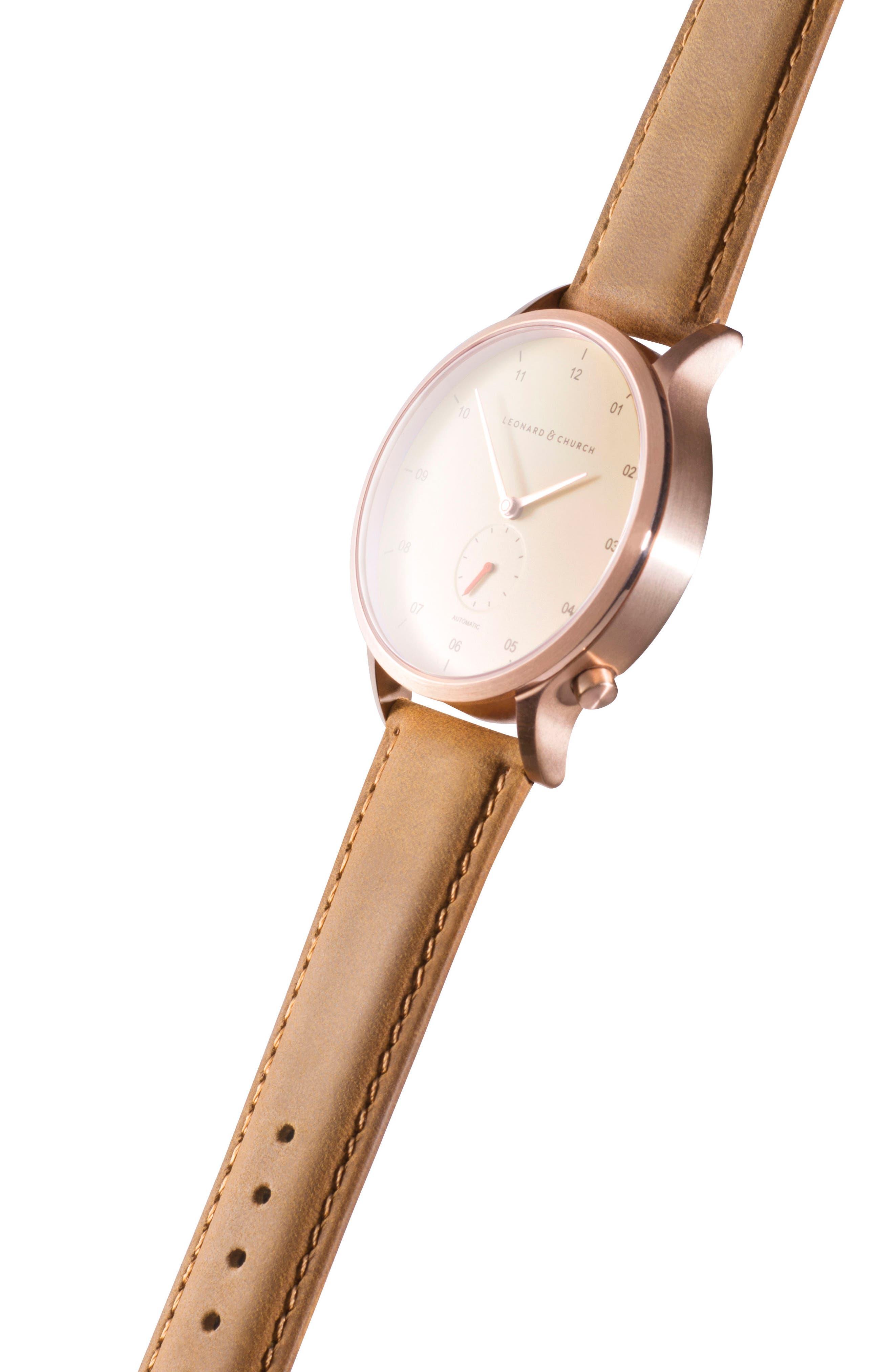 Leonard & Church Sullivan Automatic Suede Strap Watch, 39mm,                             Alternate thumbnail 5, color,                             Tan/ Rose Gold