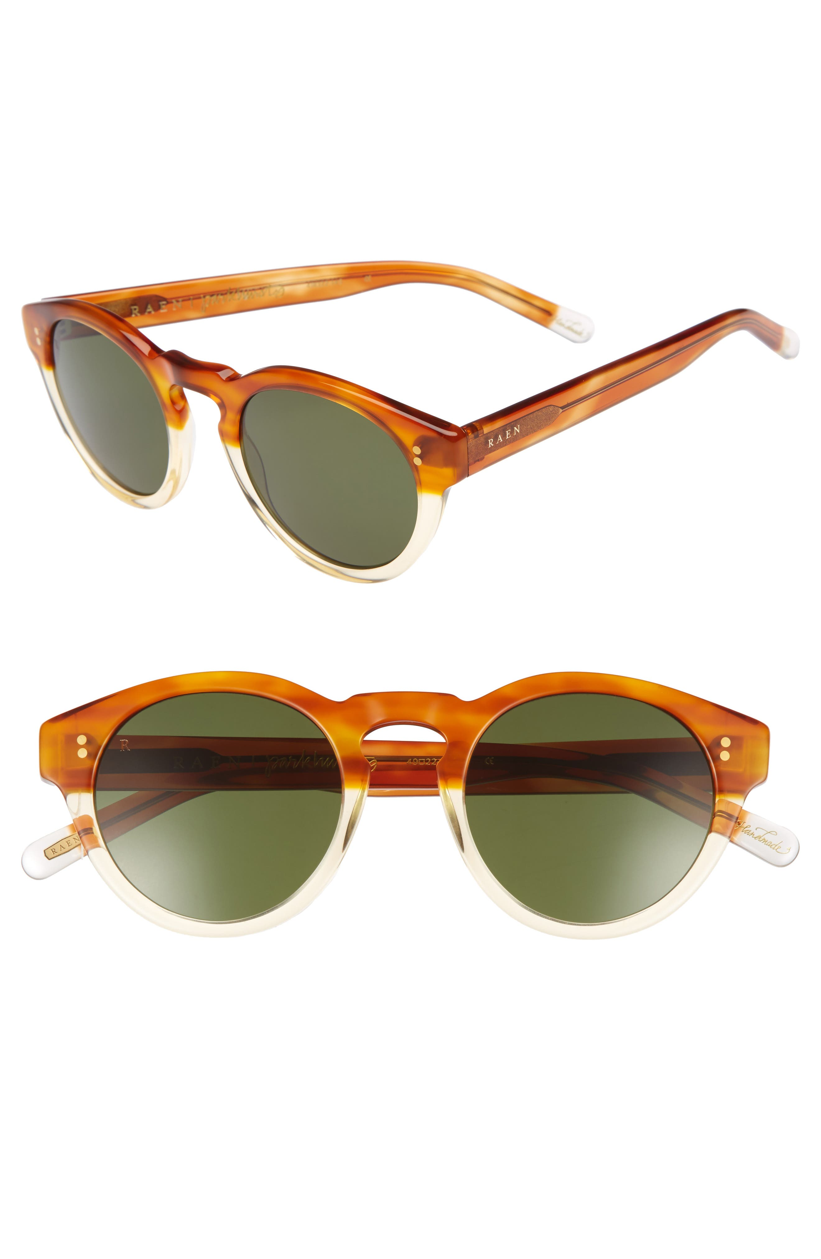 Parkhurst 49mm Sunglasses,                             Main thumbnail 1, color,                             Honey Havana/ Green