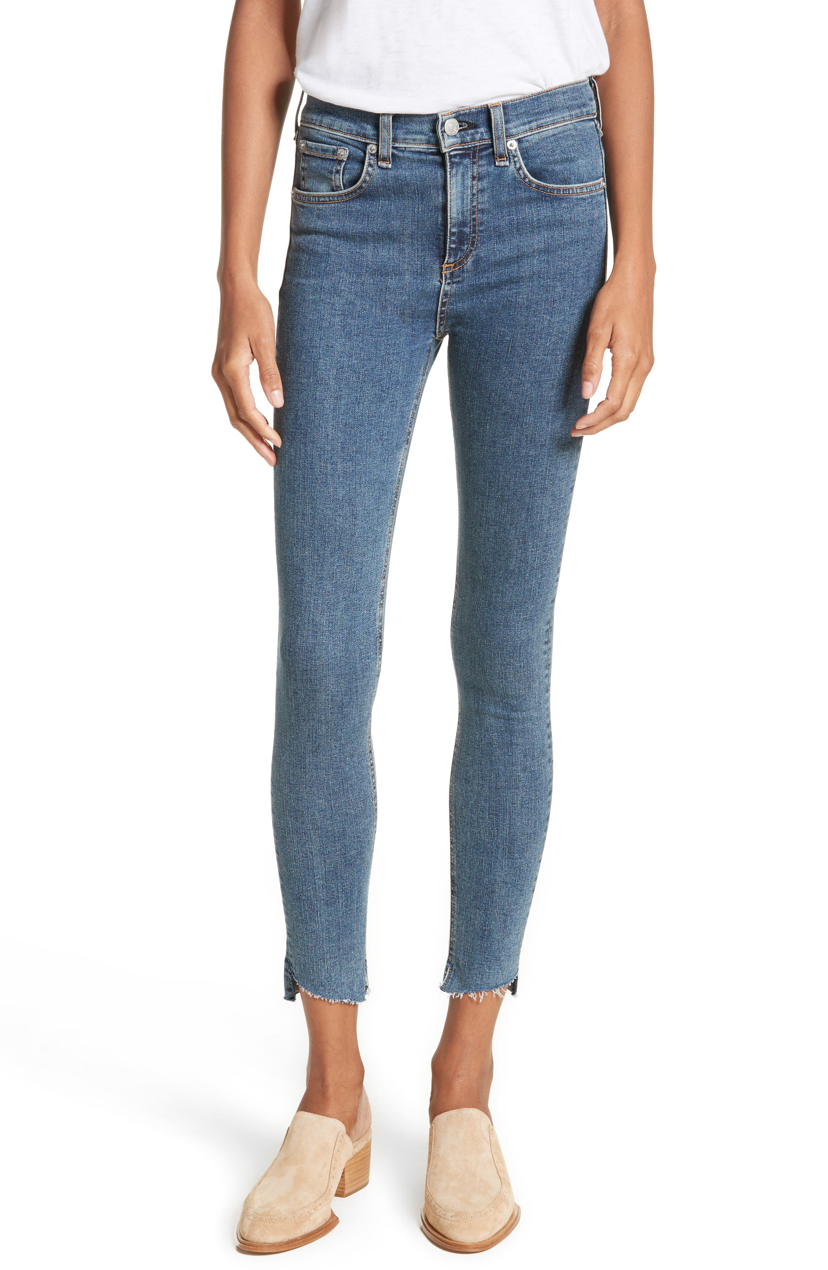 High Waist Ankle Skinny Jeans,                             Main thumbnail 1, color,                             Clean Commodore