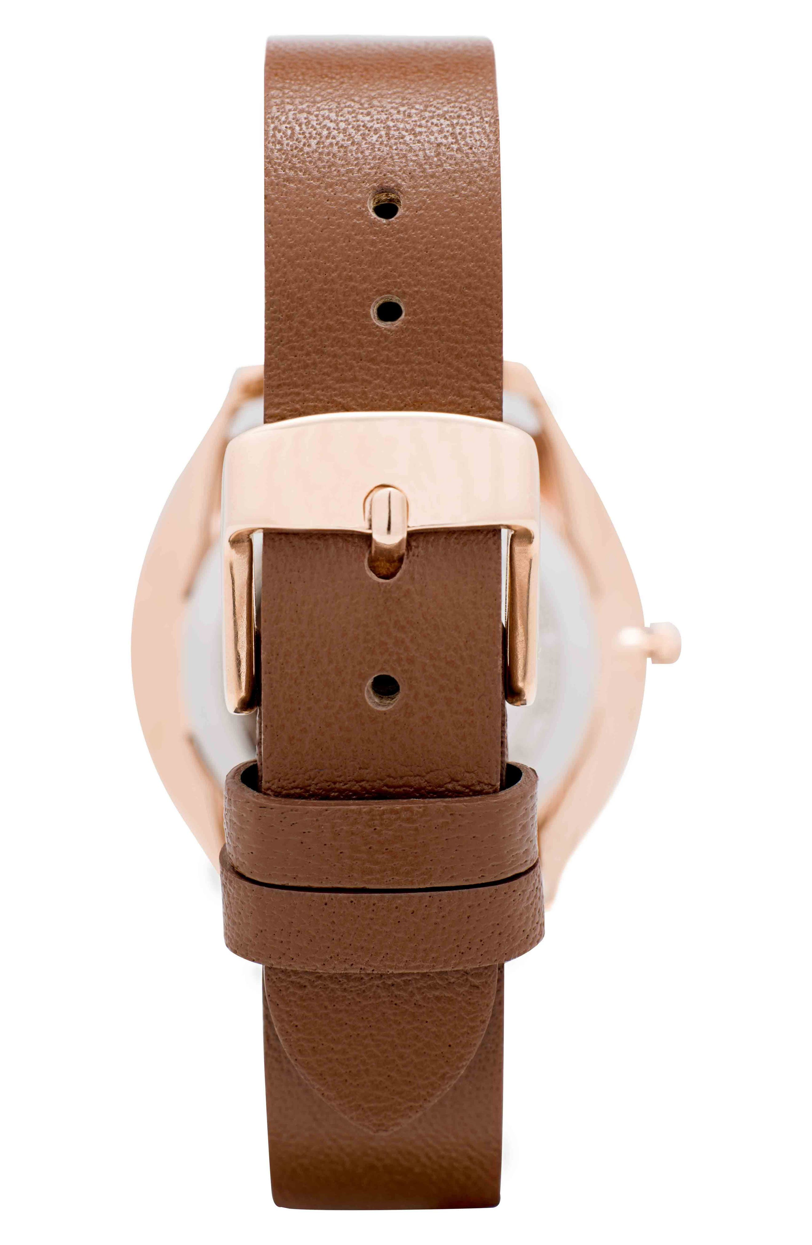 Leonard & Church Chelsea Leather Strap Watch, 34mm,                             Alternate thumbnail 5, color,                             Brown/ White/ Rose Gold