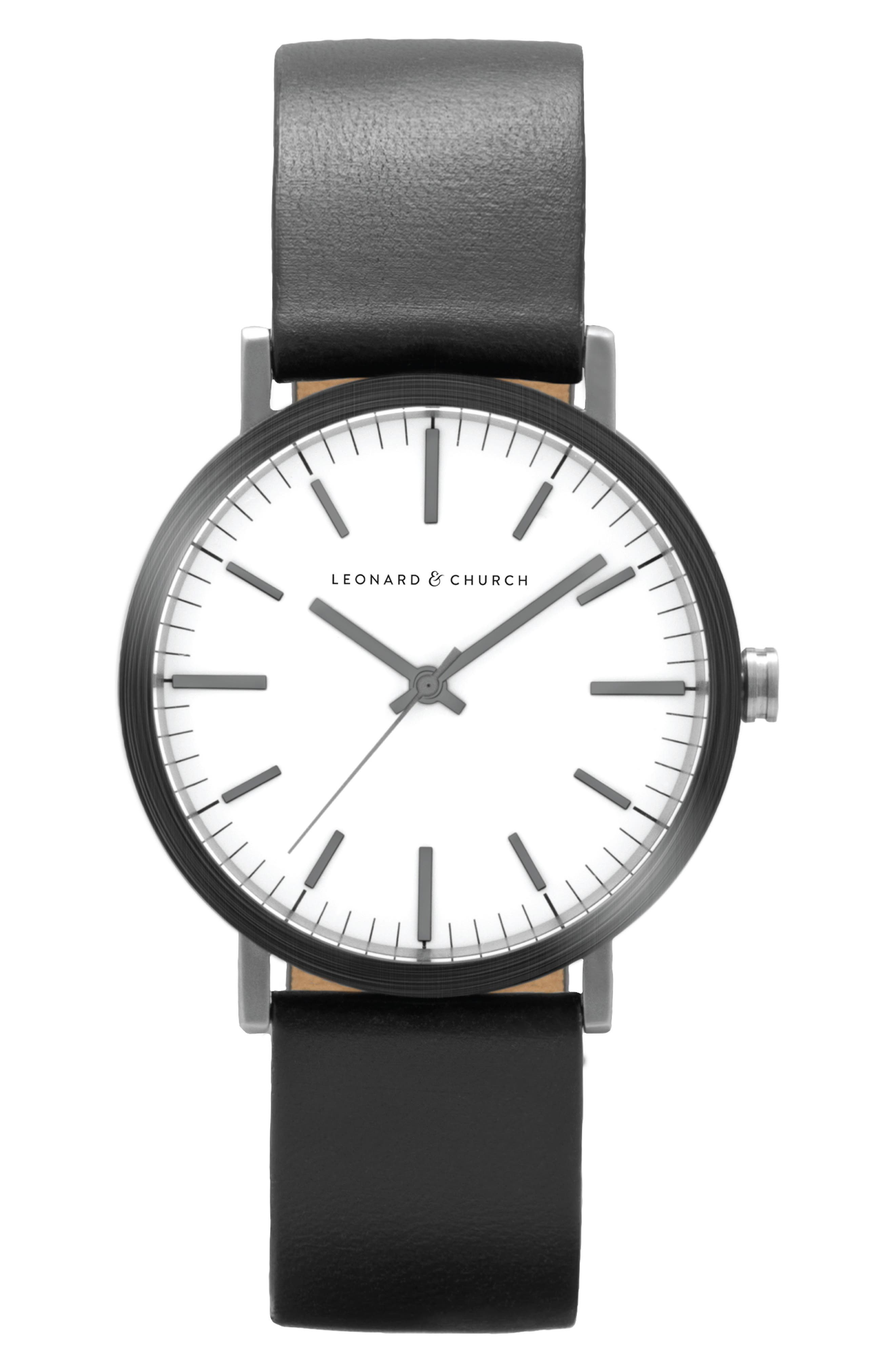 Leonard & Church Thompson Leather Strap Watch, 40mm,                         Main,                         color, Black/ White/ Silver