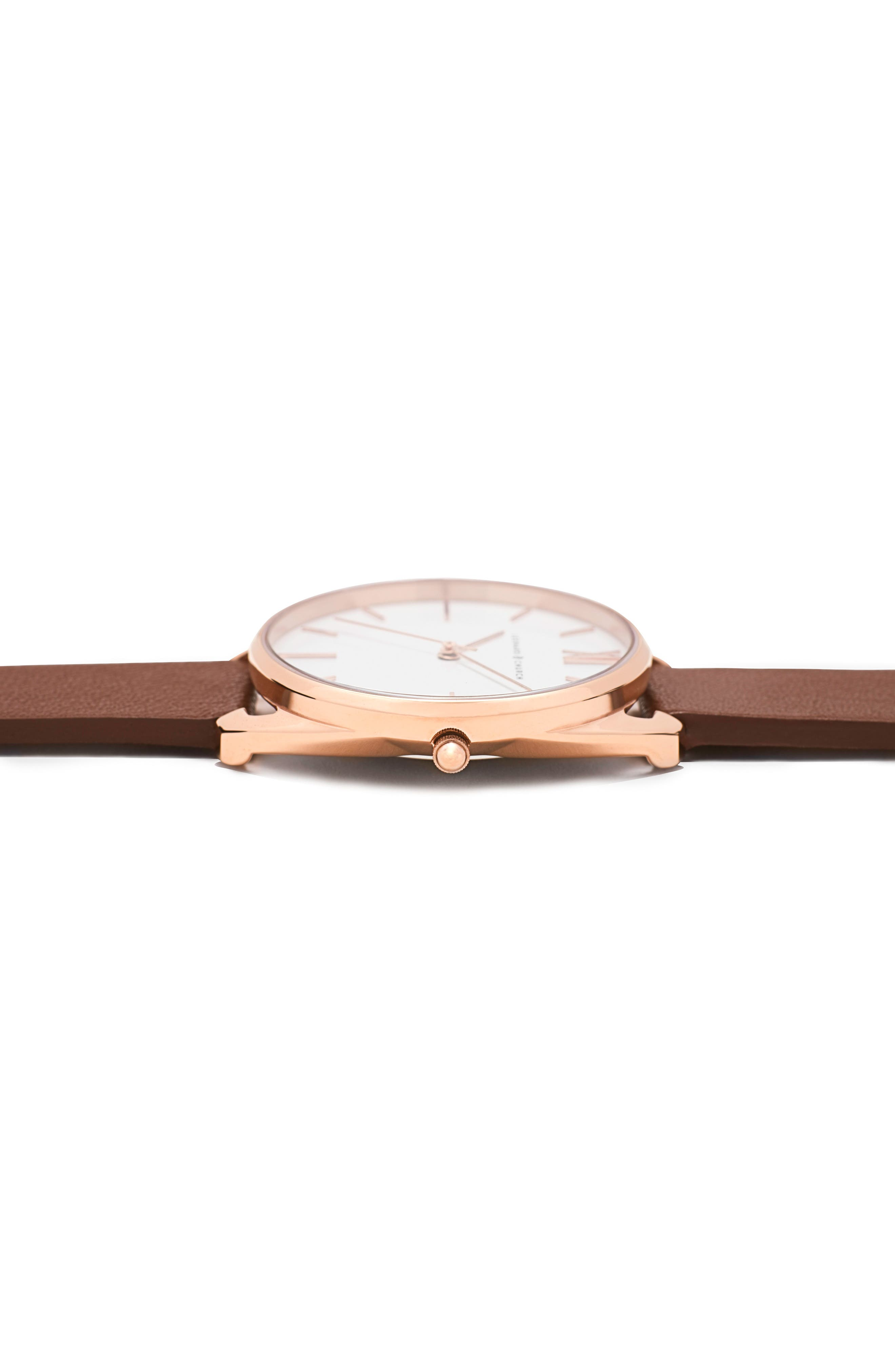 Leonard & Church Chelsea Leather Strap Watch, 34mm,                             Alternate thumbnail 3, color,                             Brown/ White/ Rose Gold