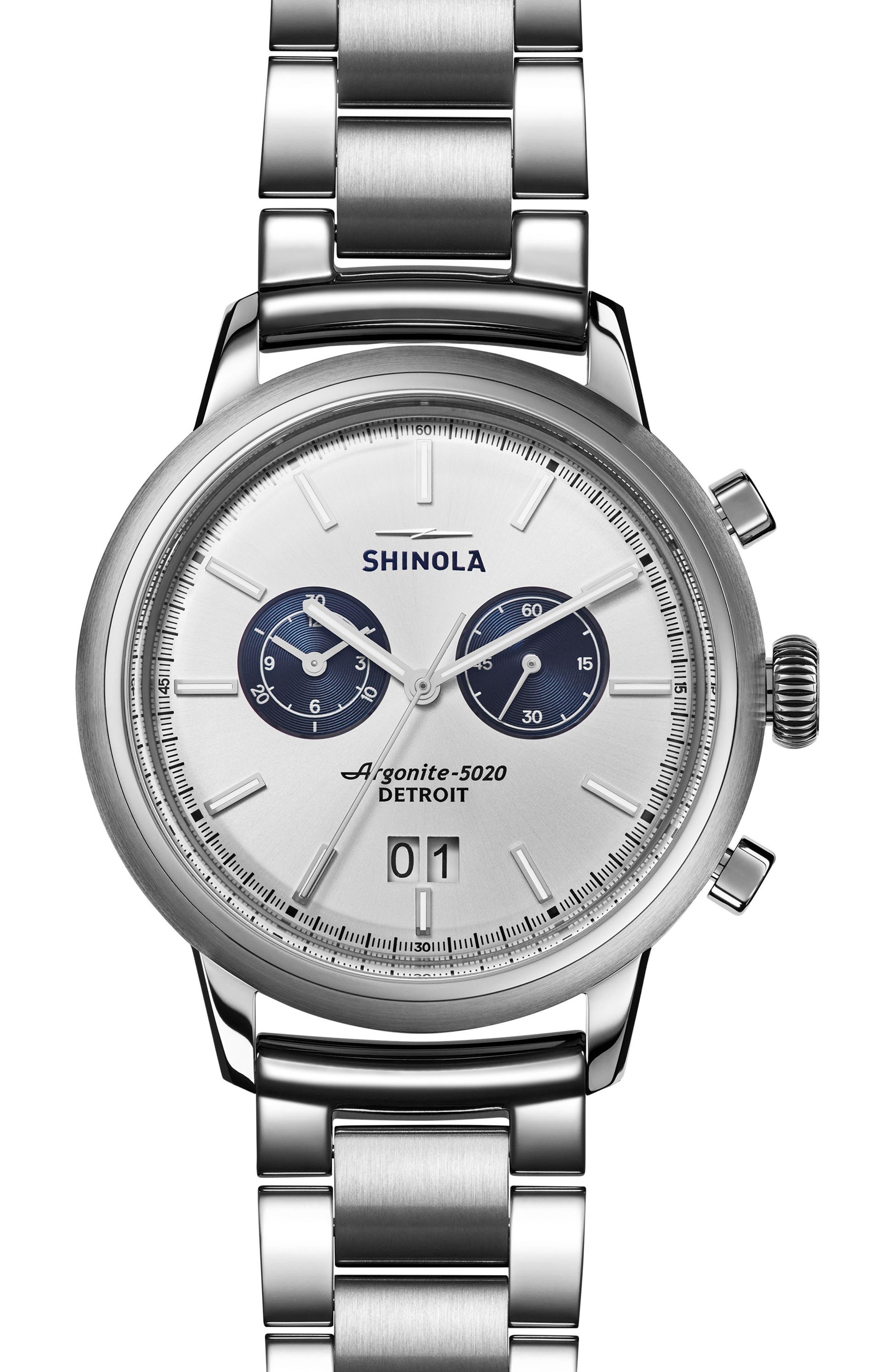Bedrock Chronograph Bracelet Watch, 47mm,                         Main,                         color, Silver
