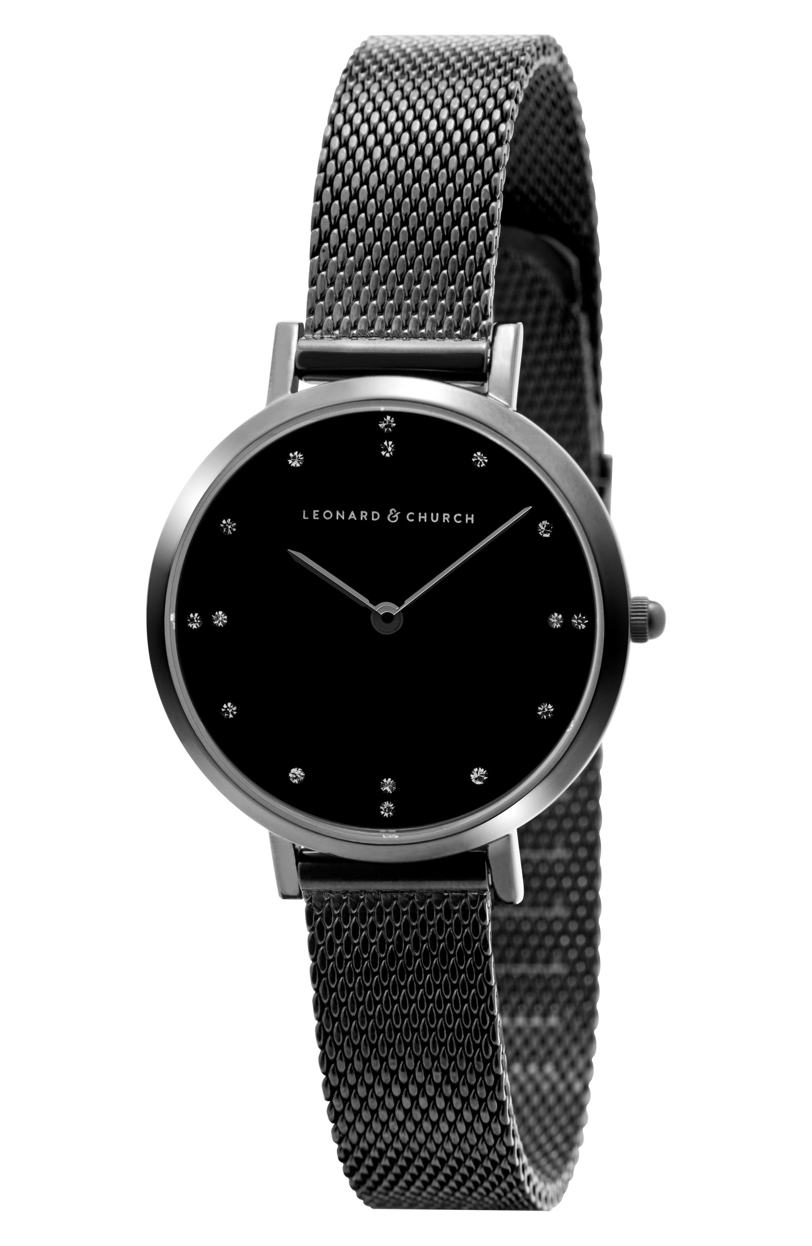 Leonard & Church Mercer Mesh Strap Watch, 30mm,                             Alternate thumbnail 5, color,                             Black