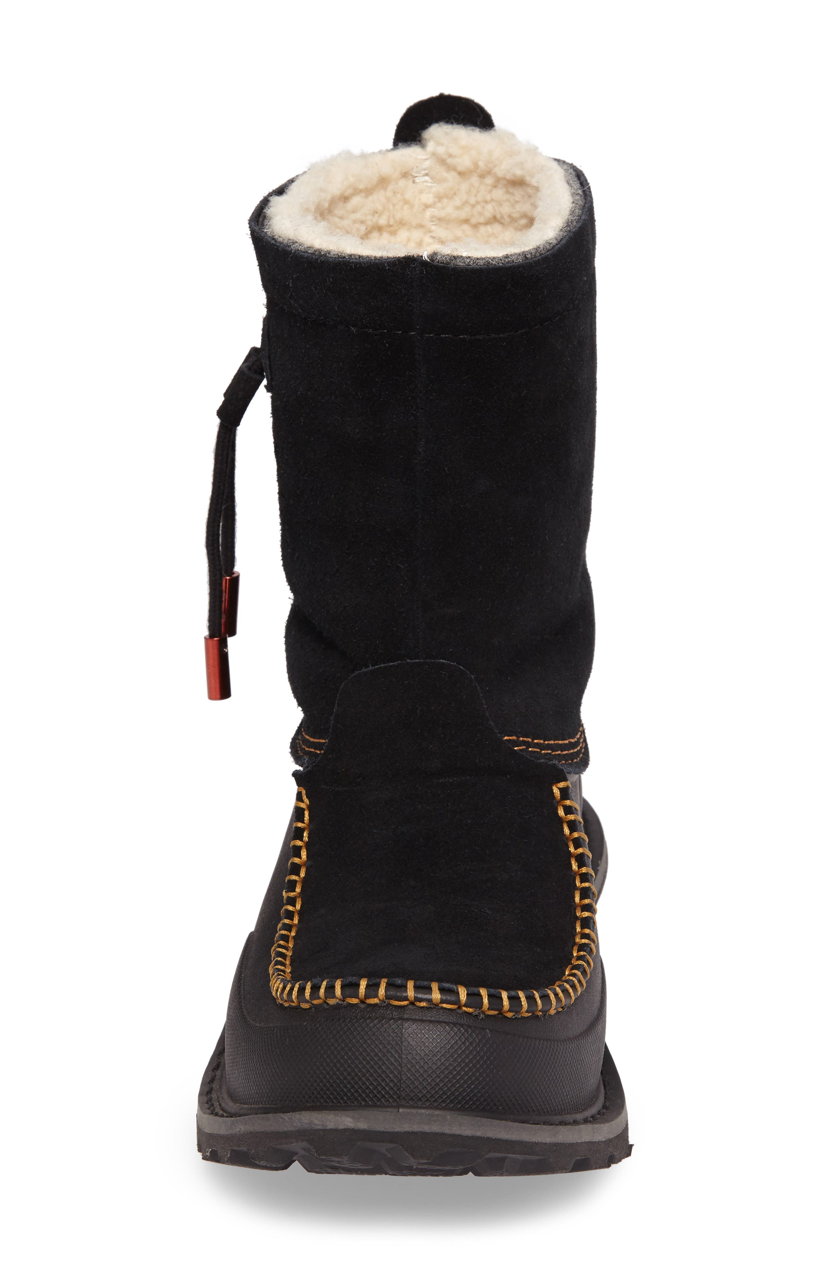Fully Wooly Waterproof Winter Boot,                             Alternate thumbnail 4, color,                             Black Leather