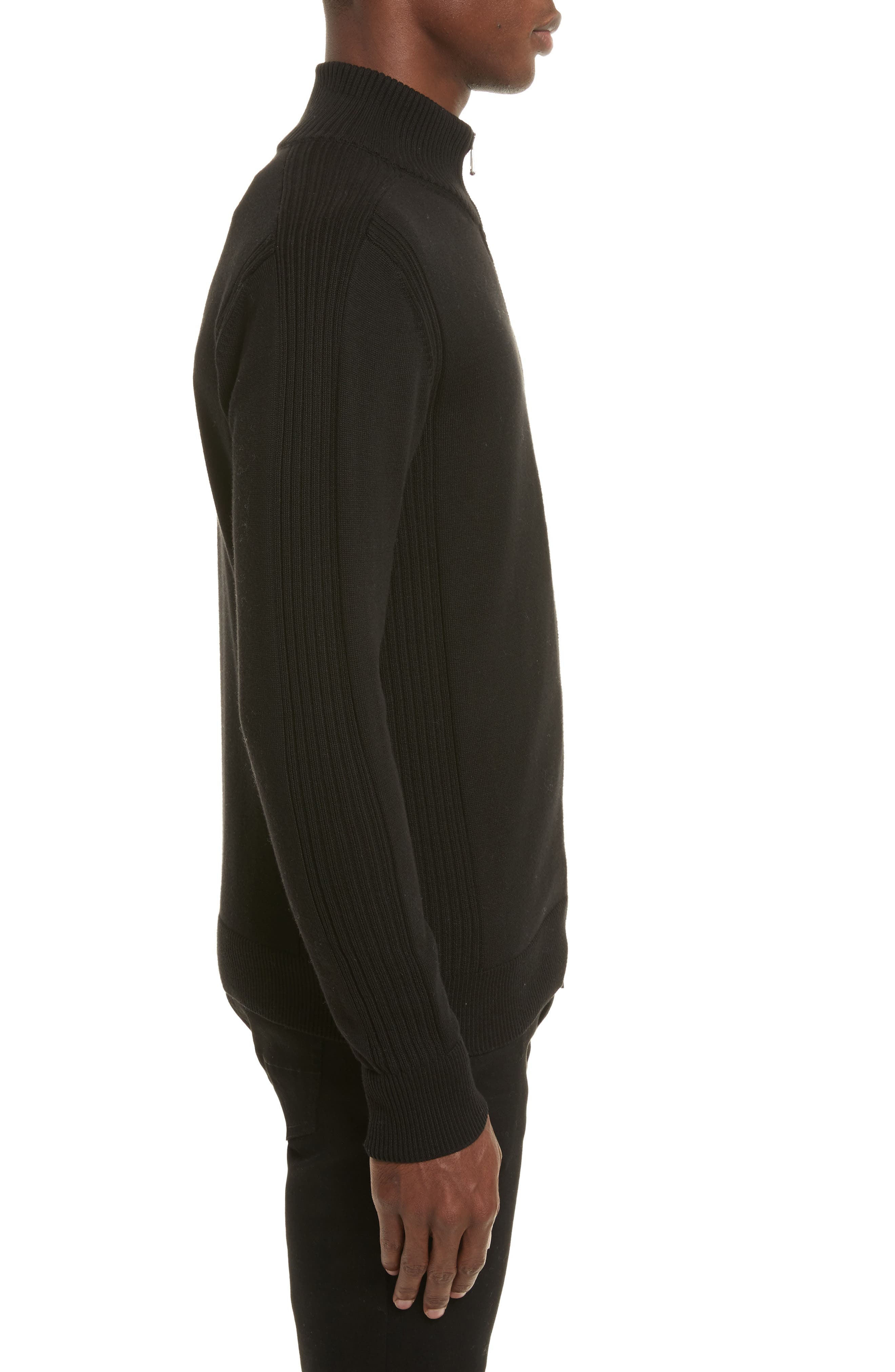 Allerford Knit Cotton Jacket,                             Alternate thumbnail 3, color,                             Black