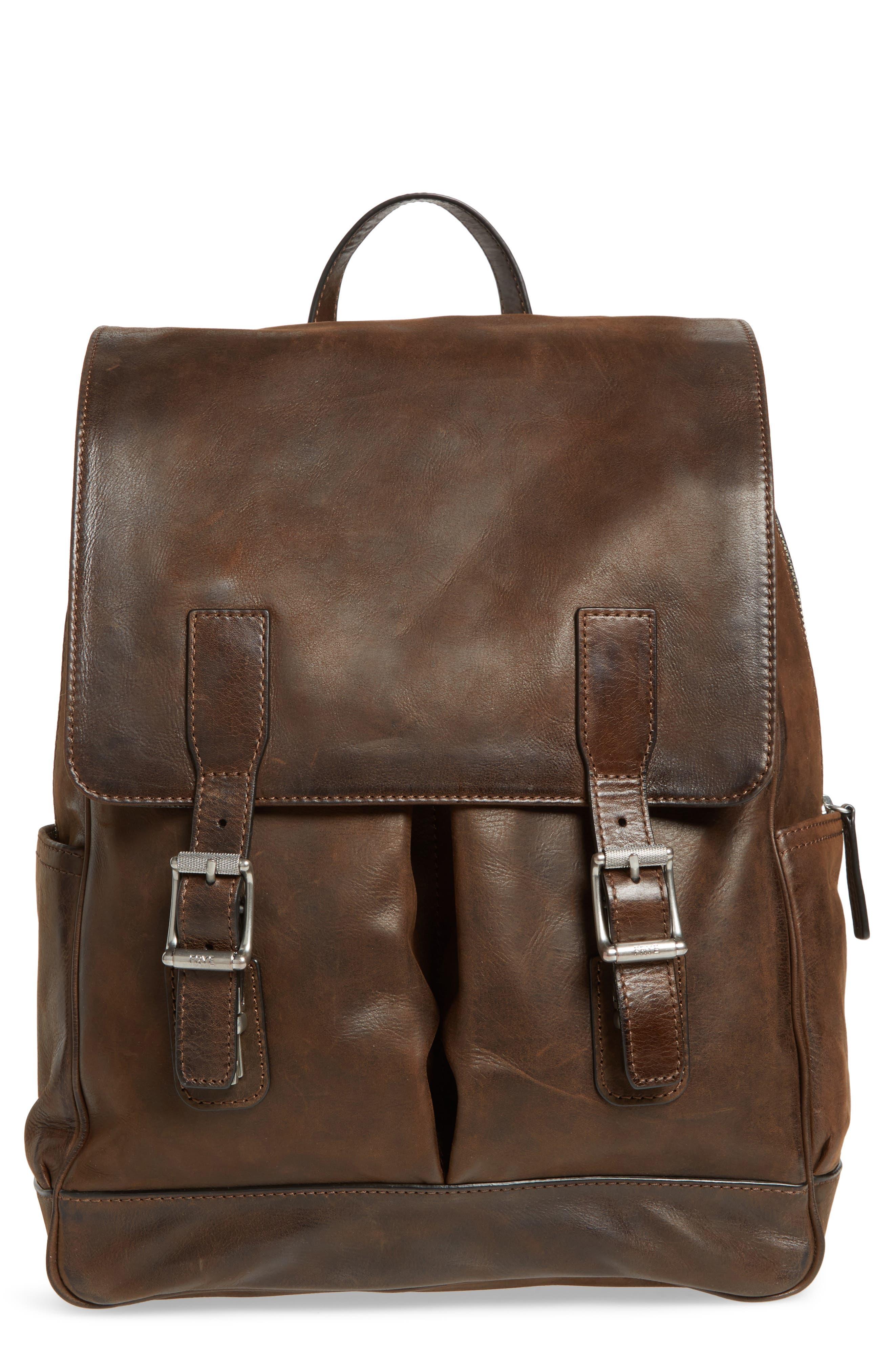 Oliver Leather Backpack,                         Main,                         color, Dark Brown