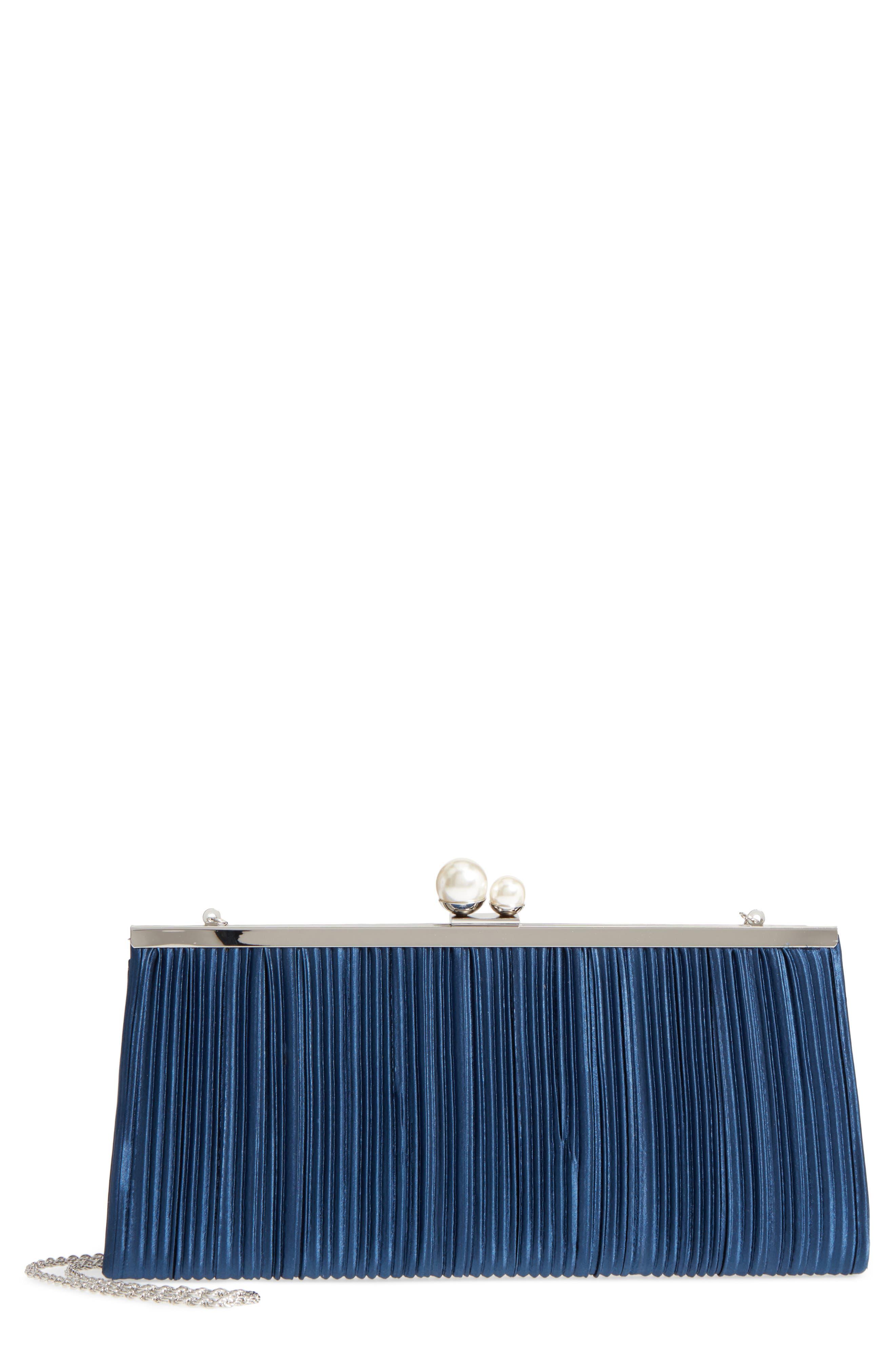 Nina Anella Pleated Satin Frame Clutch