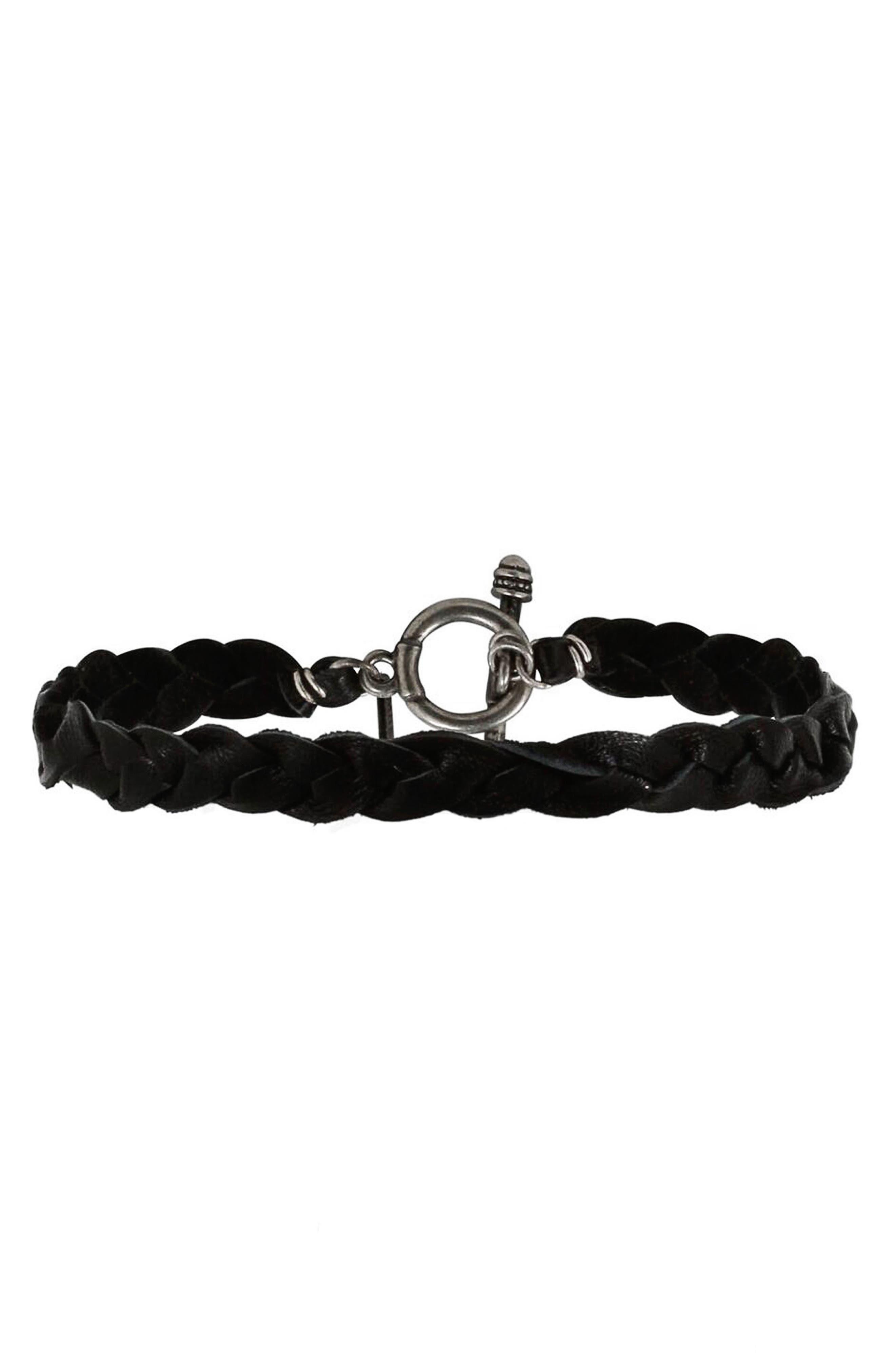 Mt. Ettika Braided Leather Bracelet,                             Main thumbnail 1, color,                             Black