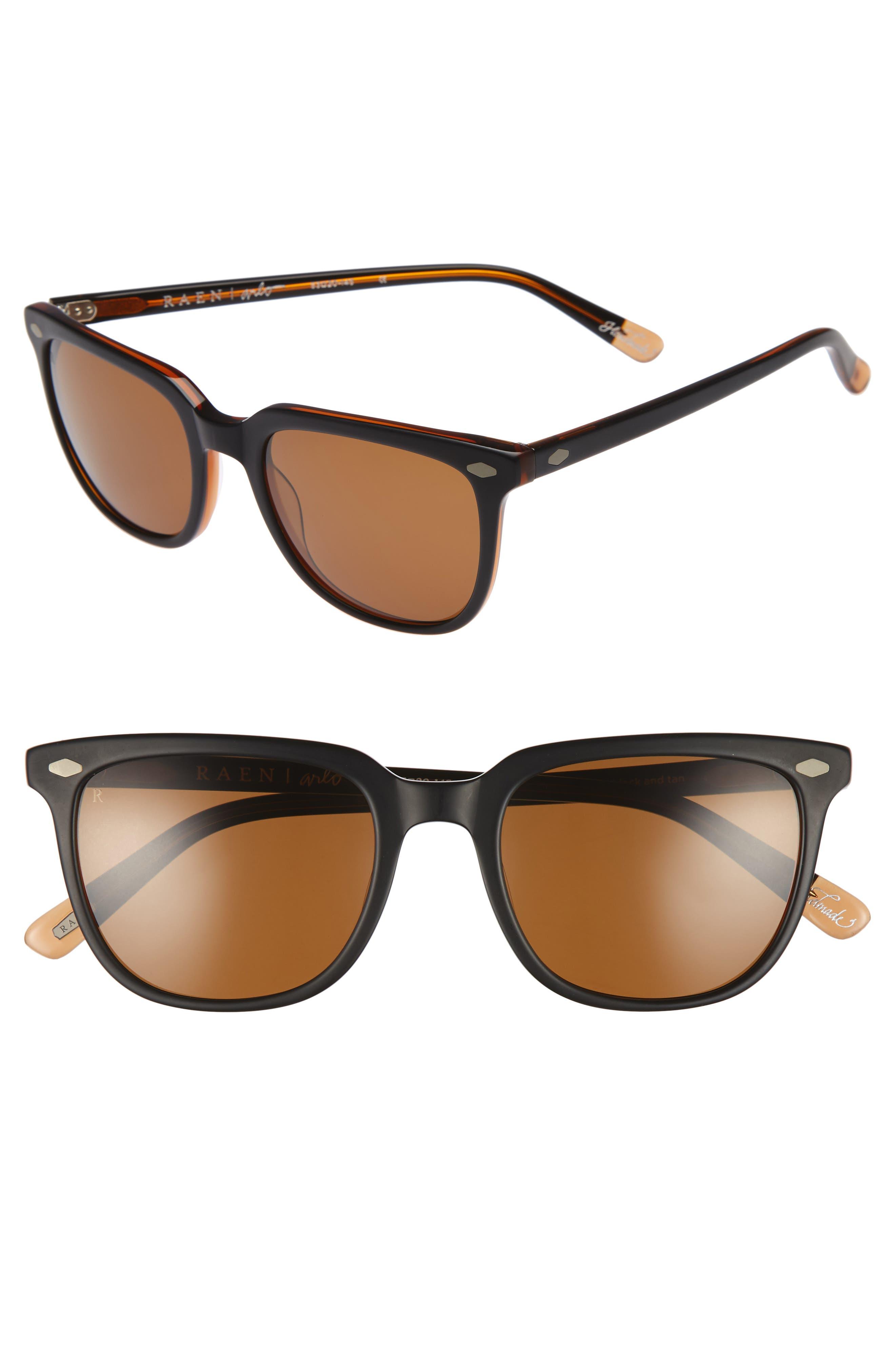 Arlo 53mm Polarized Sunglasses,                             Main thumbnail 1, color,                             Black/ Tan/ Brown
