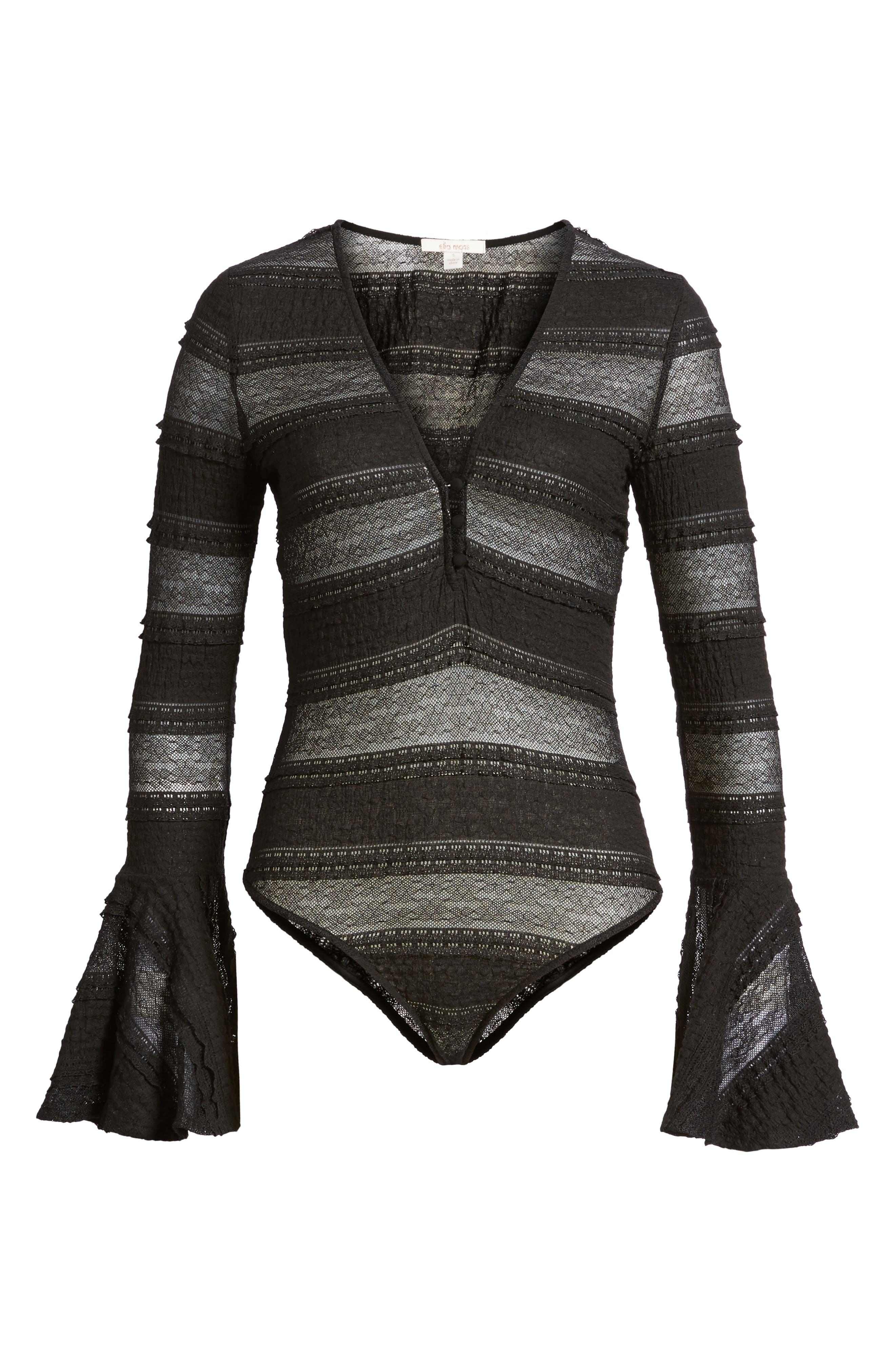 Lace Bell Sleeve Thong Bodysuit,                             Alternate thumbnail 6, color,                             Black