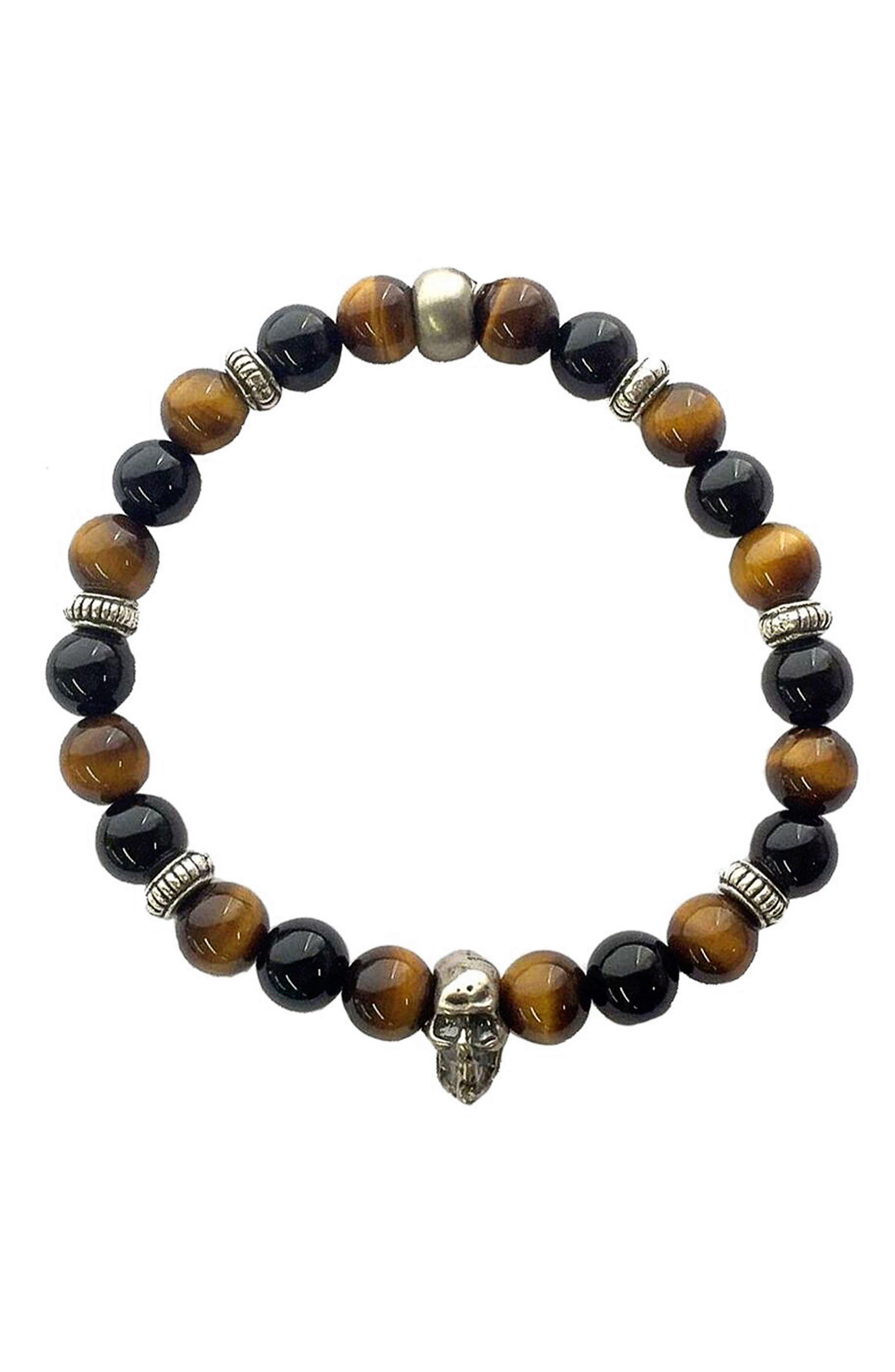 Tiger's-Eye Onyx Stretch Bracelet,                         Main,                         color, Black