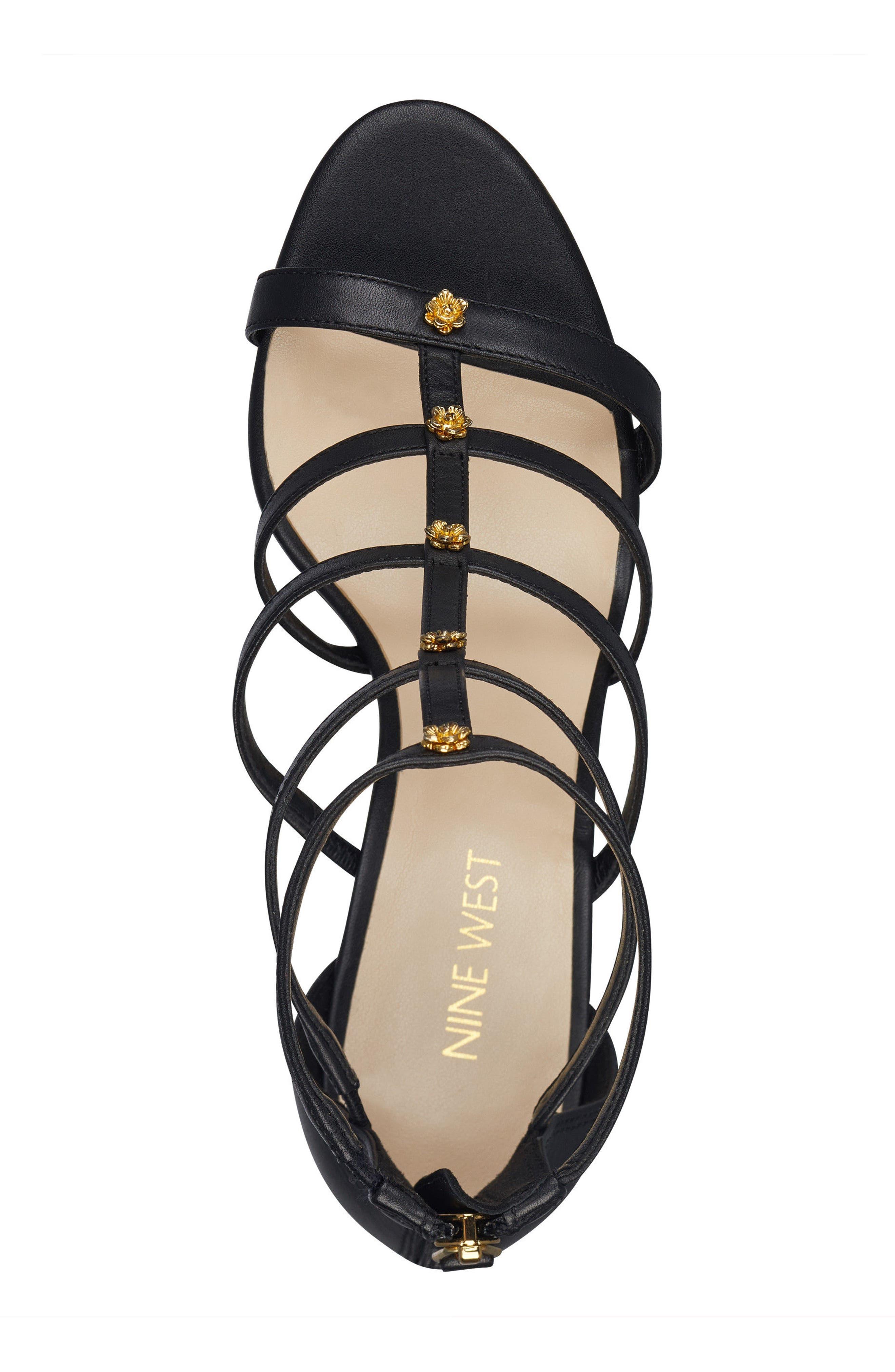 Nayler Strappy Sandal,                             Alternate thumbnail 5, color,                             Black Leather