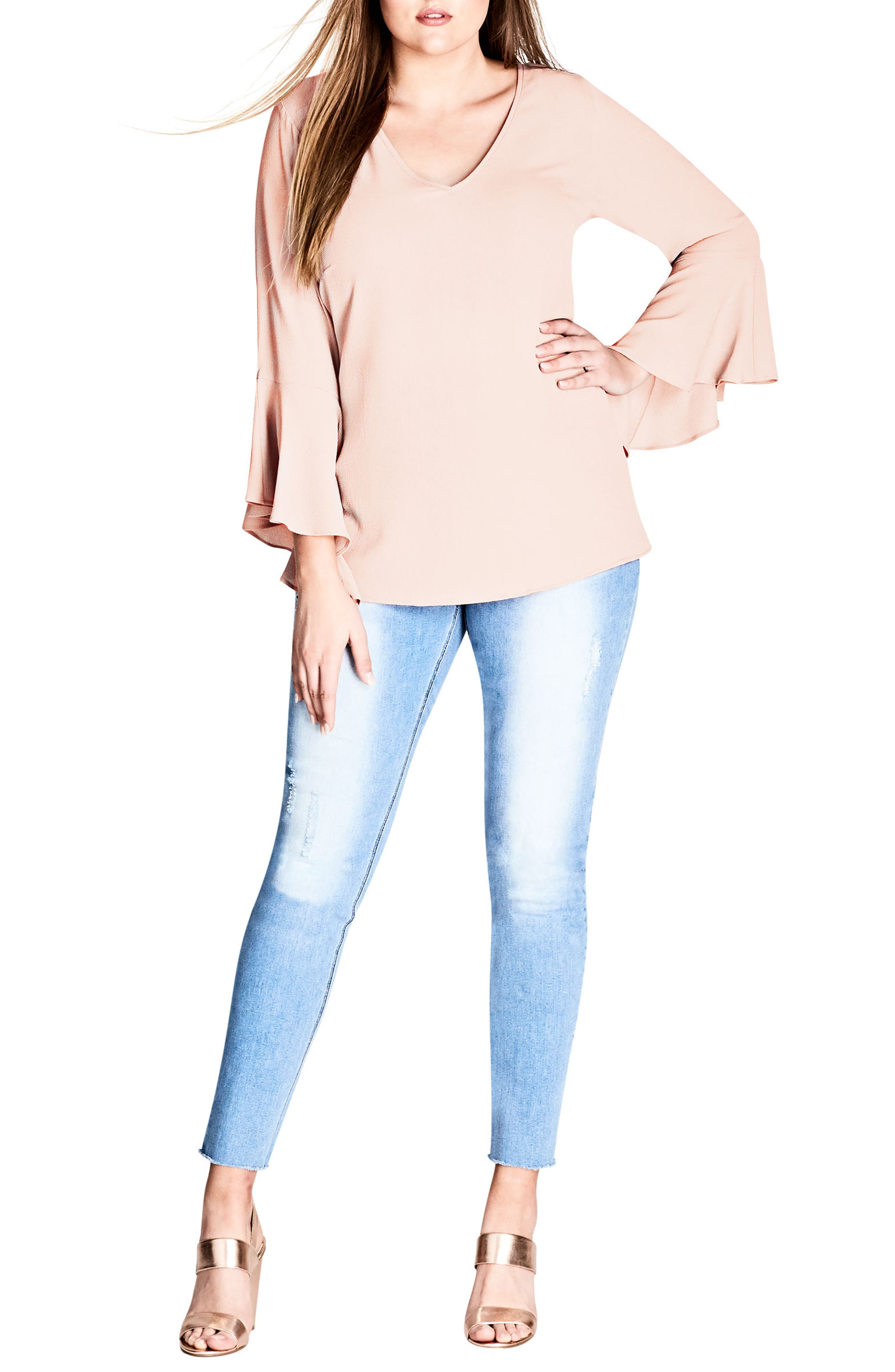 56fb28c495b City Chic Bell Sleeve Top In Champagne