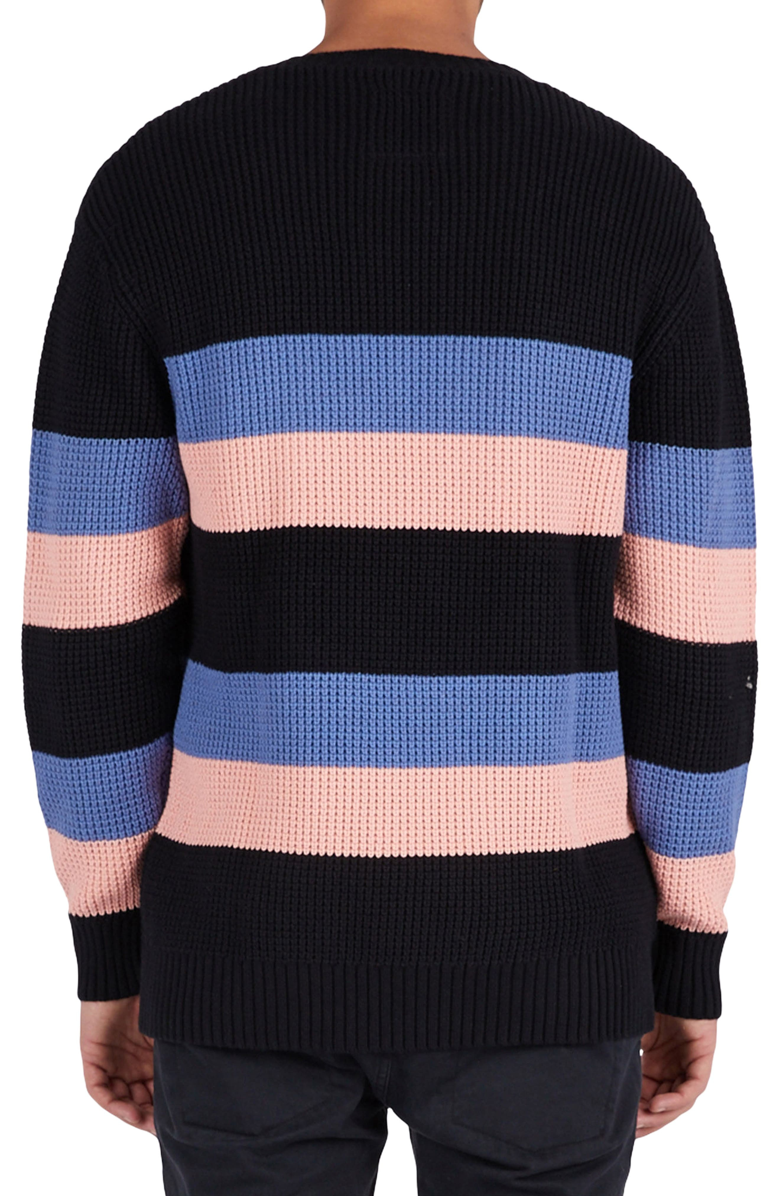 Rugby Stripe Sweater,                             Alternate thumbnail 2, color,                             Black/ Pink