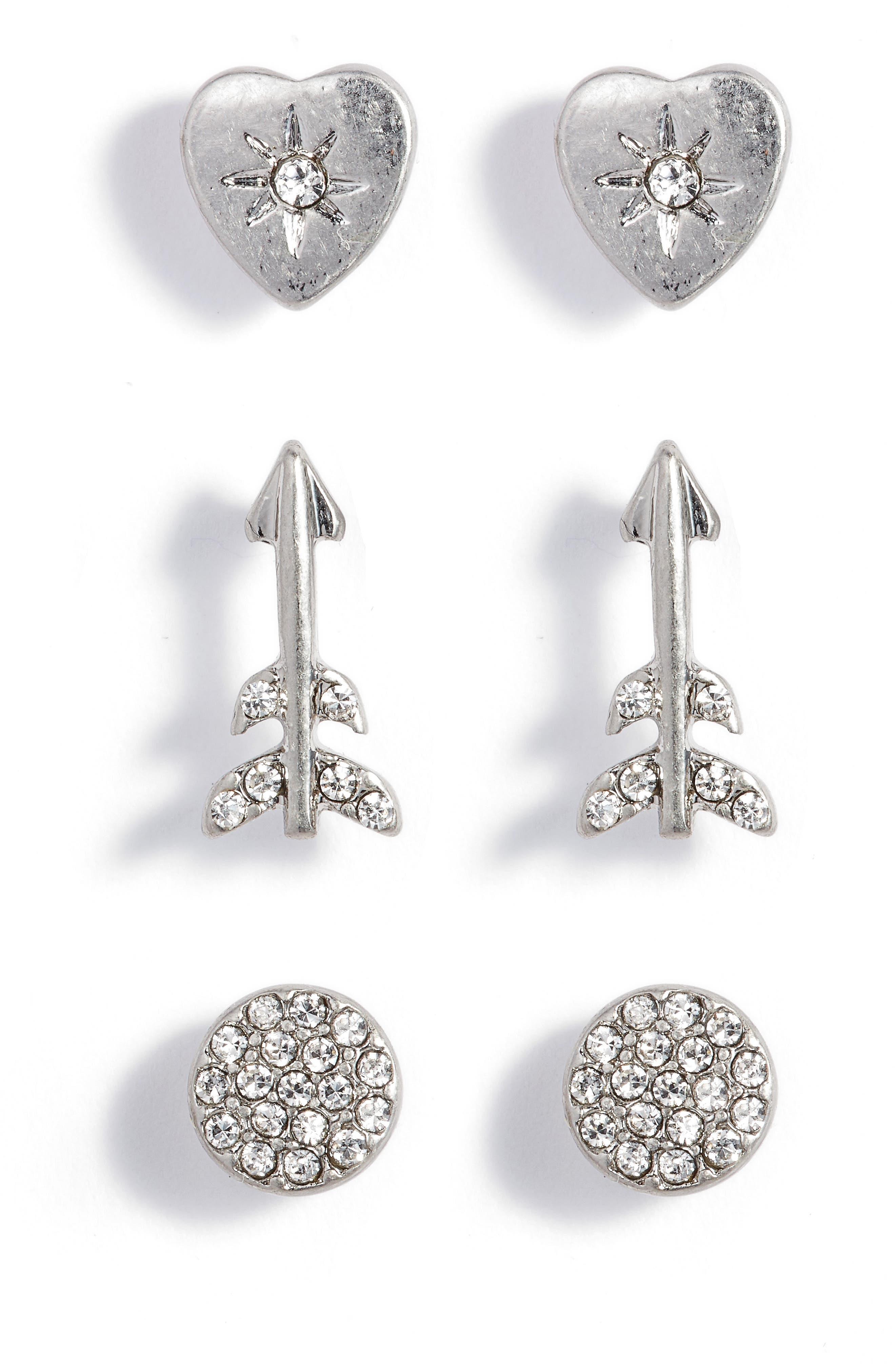 Arrow Stud Earrings Set of 3,                             Main thumbnail 1, color,                             Clear- Rhodium