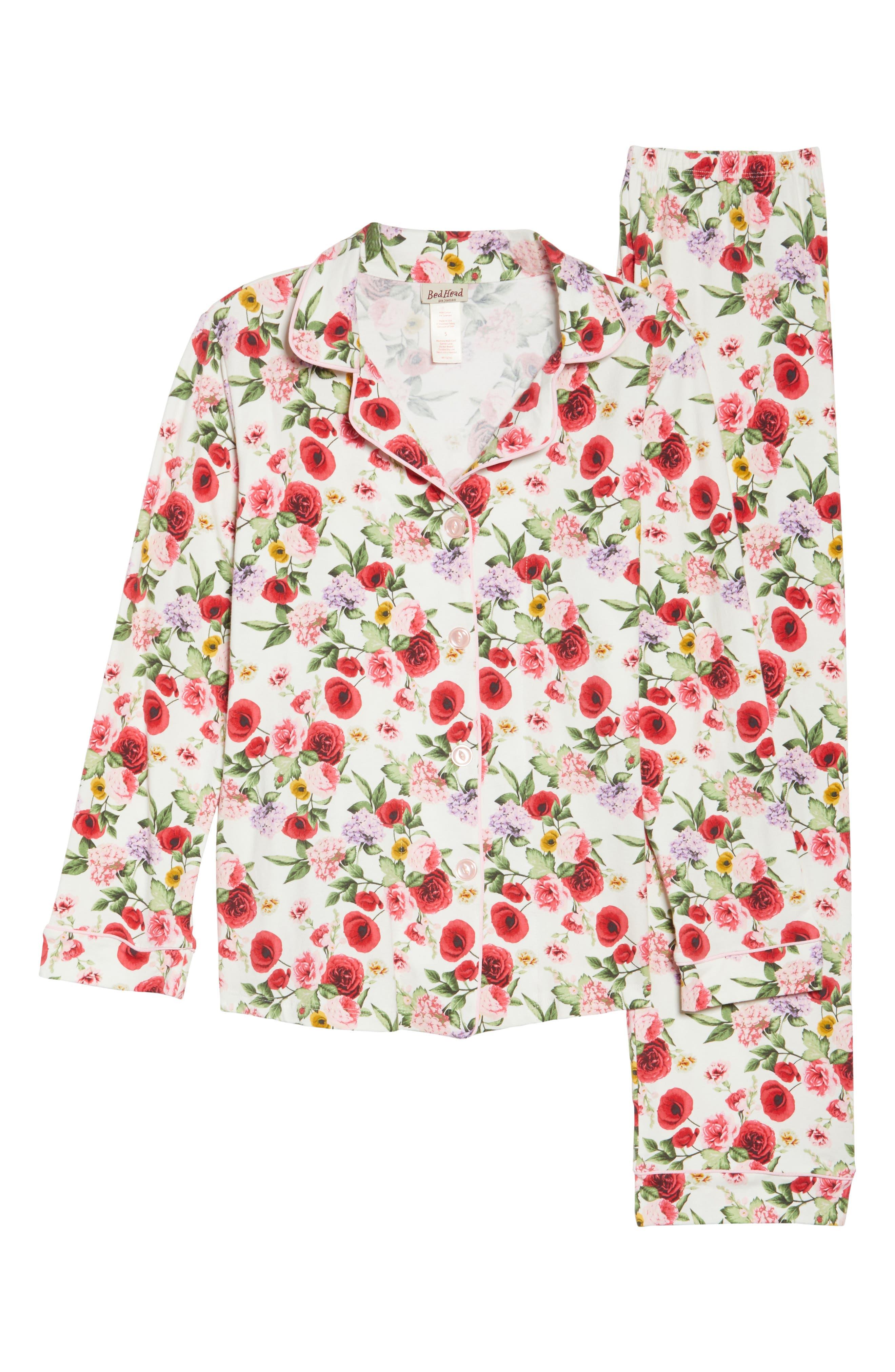Flower Print Pajamas,                             Alternate thumbnail 4, color,                             Late Bloomers