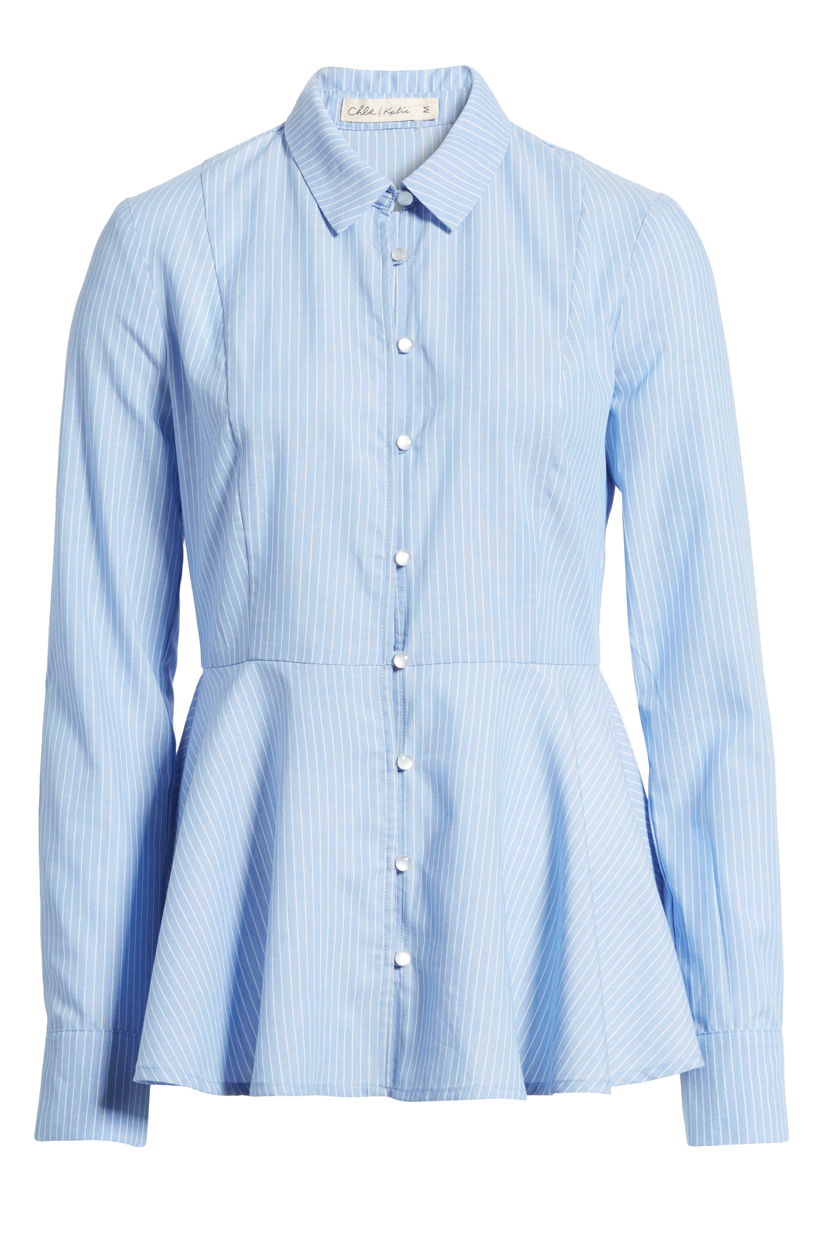 Stripe Peplum Shirt,                             Alternate thumbnail 6, color,                             Blue/ White