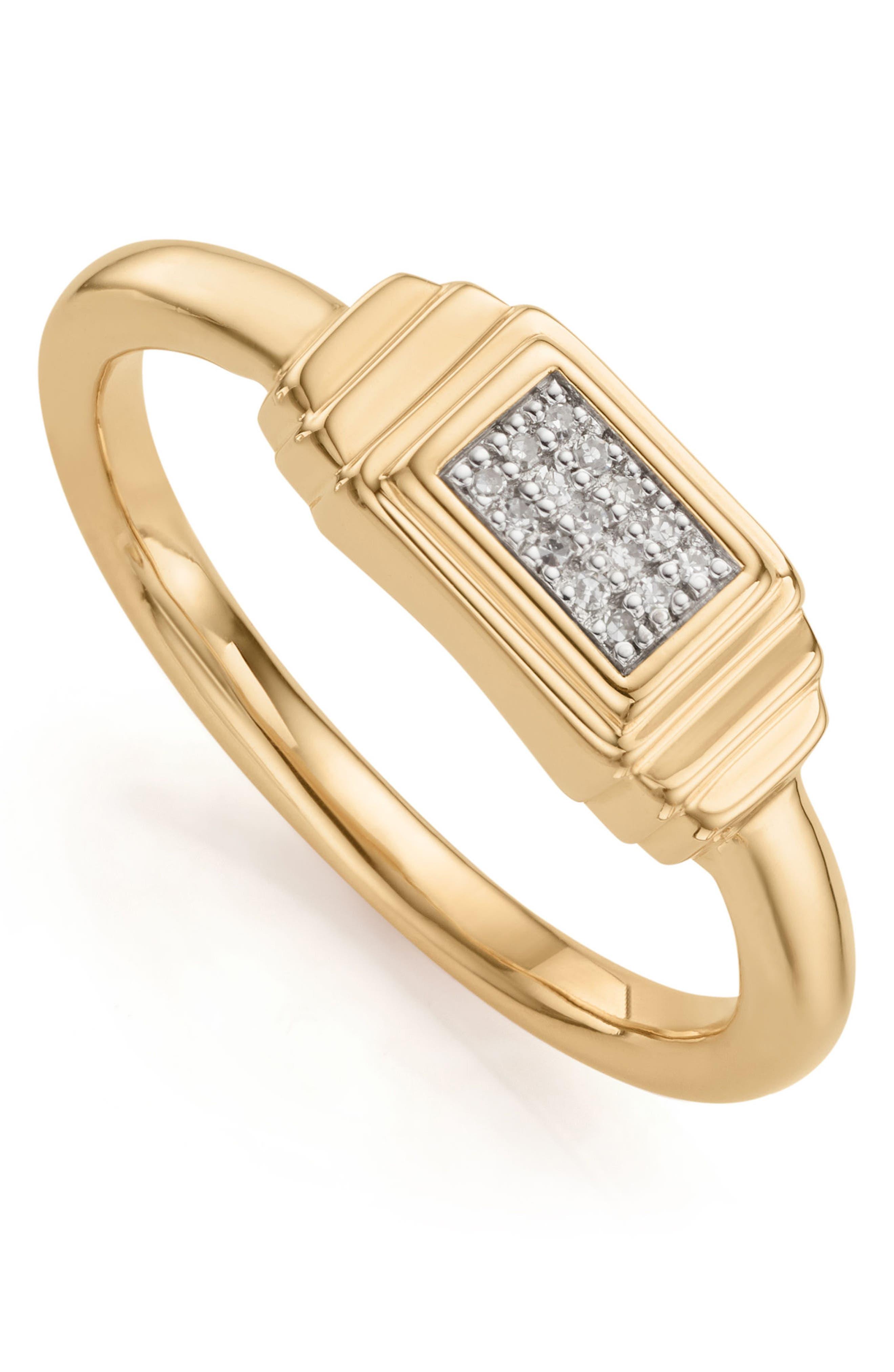 Baja Deco Diamond Ring,                         Main,                         color, Yellow Gold