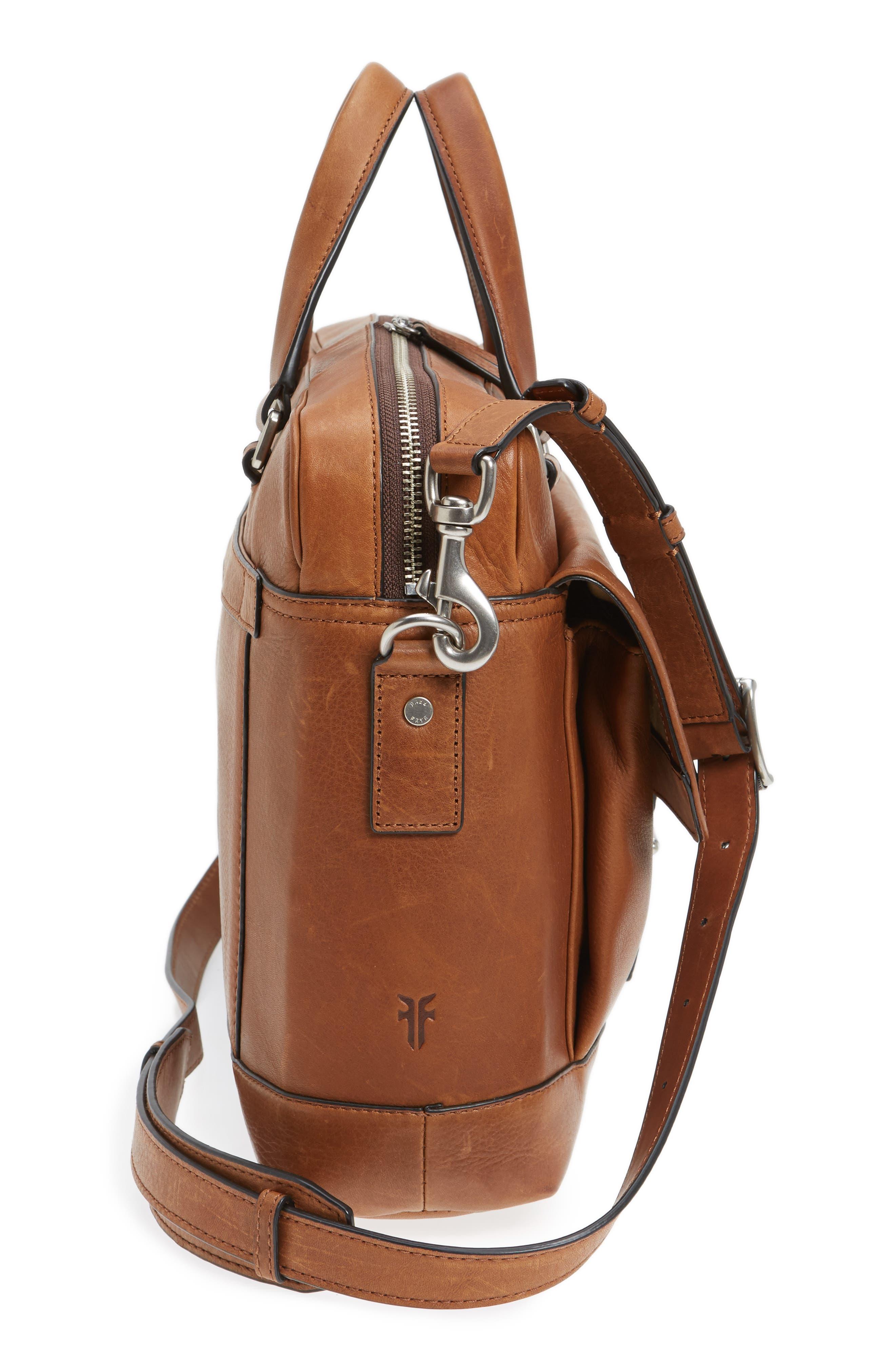Oliver Leather Briefcase,                             Alternate thumbnail 5, color,                             Cognac