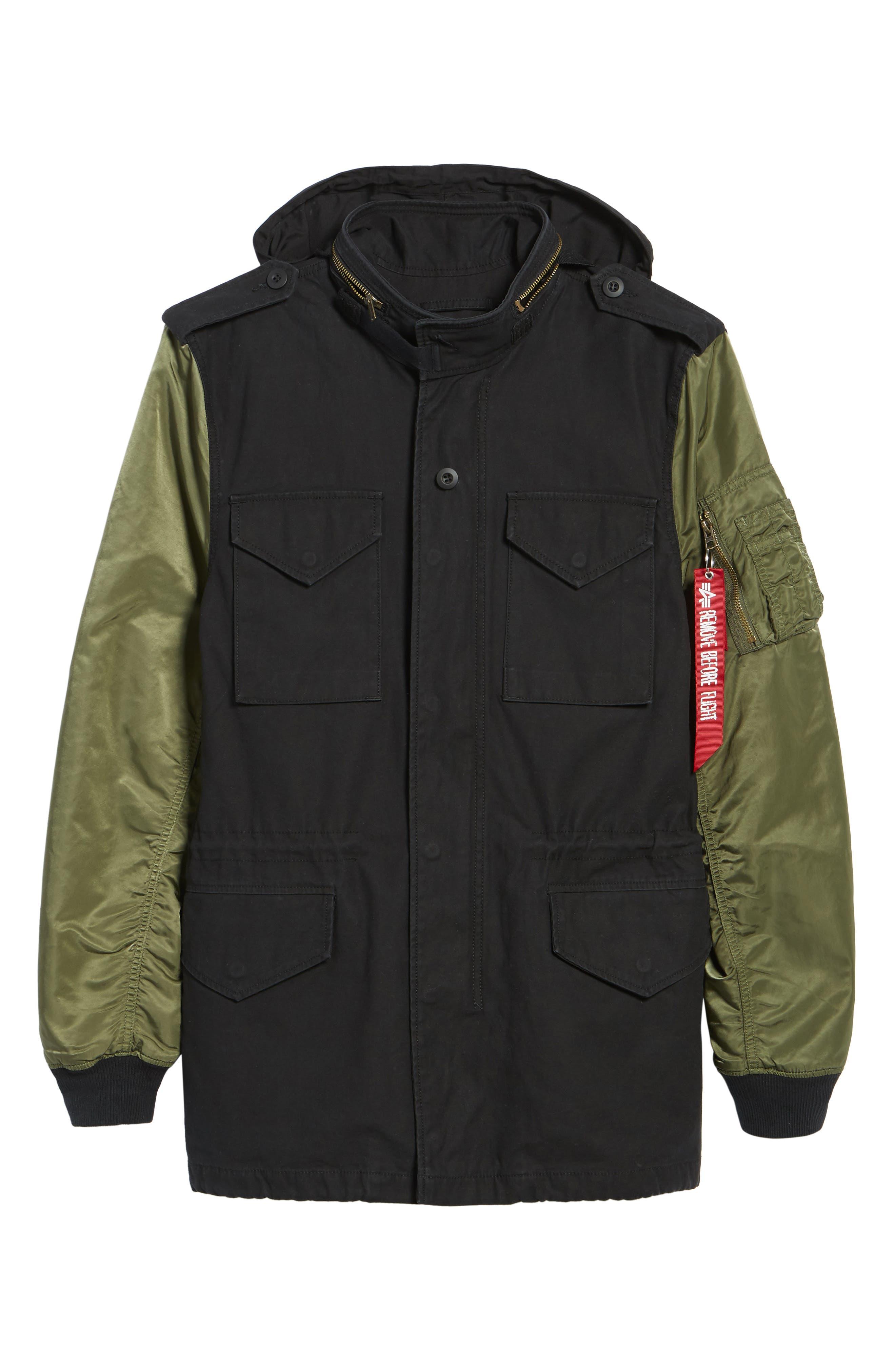 Fusion Field Coat,                             Alternate thumbnail 6, color,                             Black/ Sage