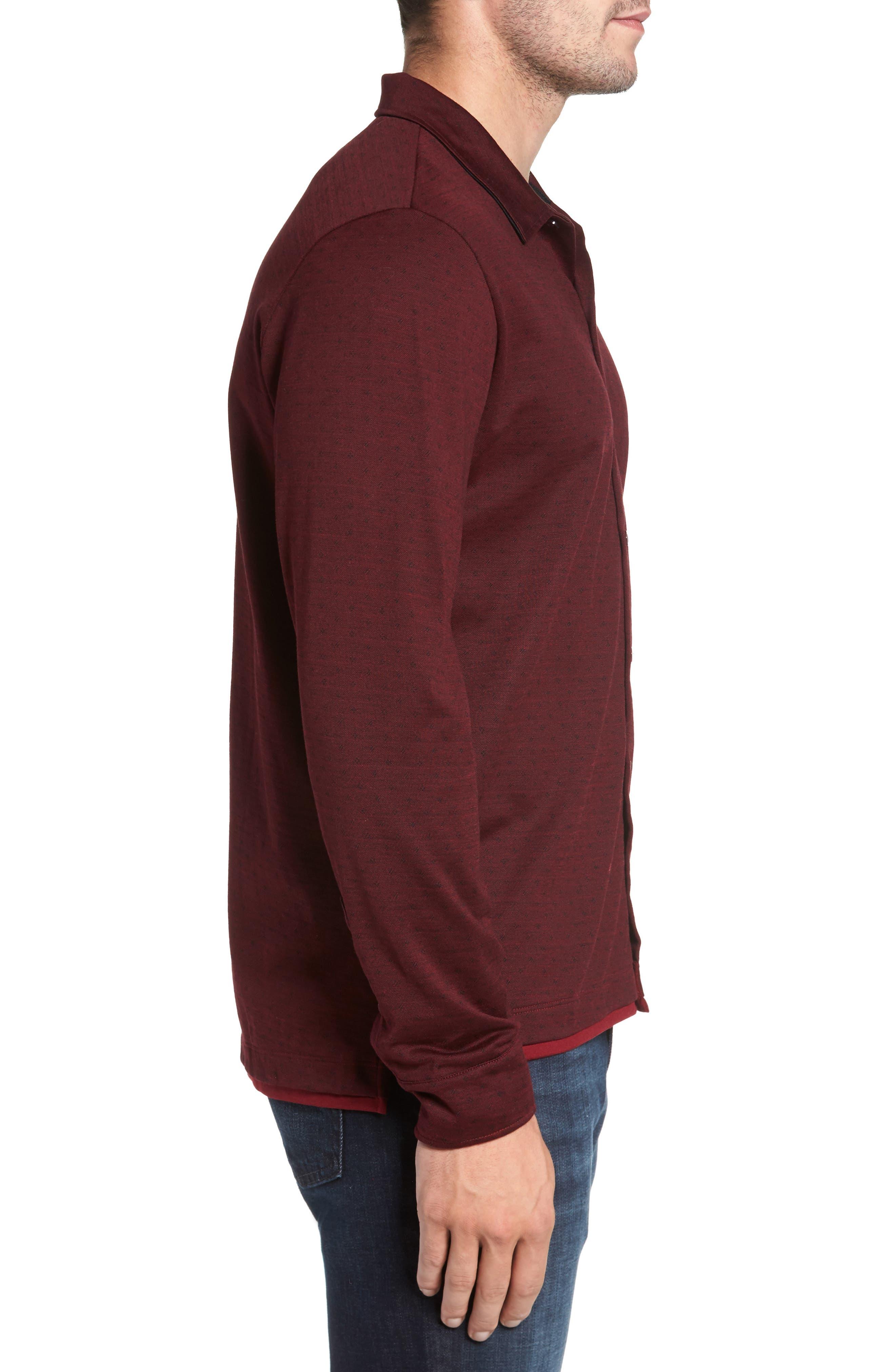 Alternate Image 3  - David Donahue Jacquard Knit Sport Shirt