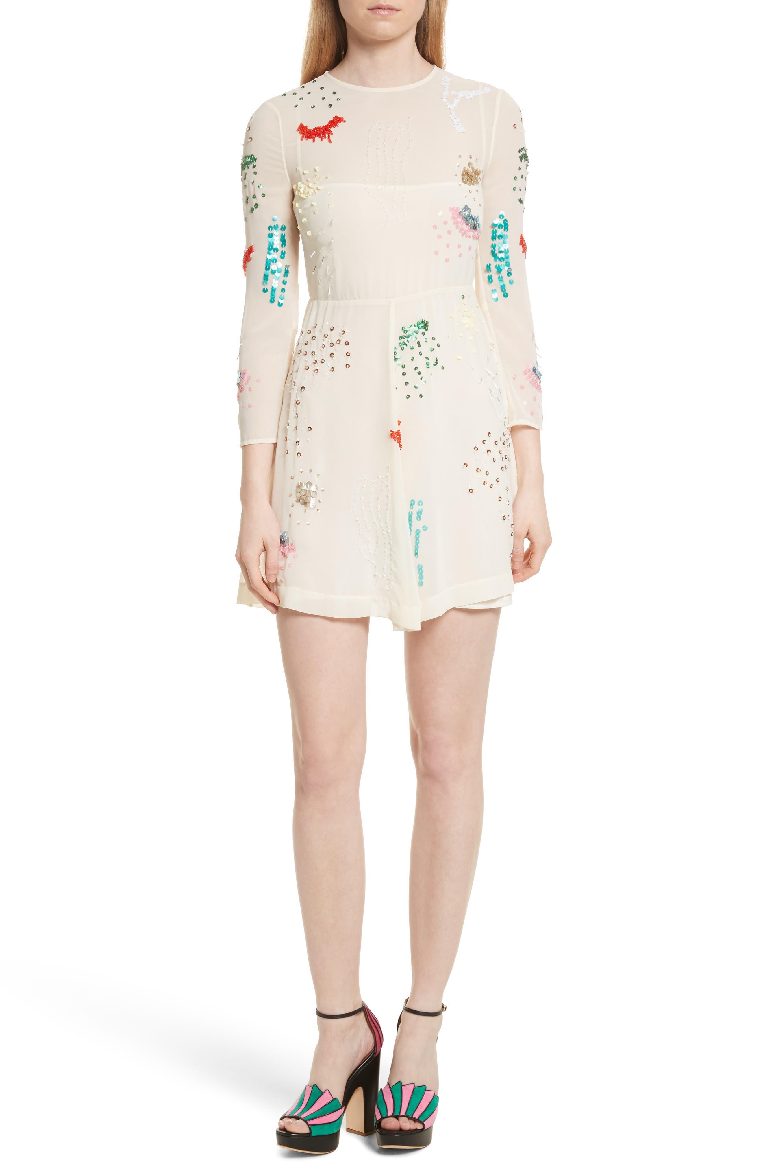 Embellished Georgette Minidress,                         Main,                         color, Ivory