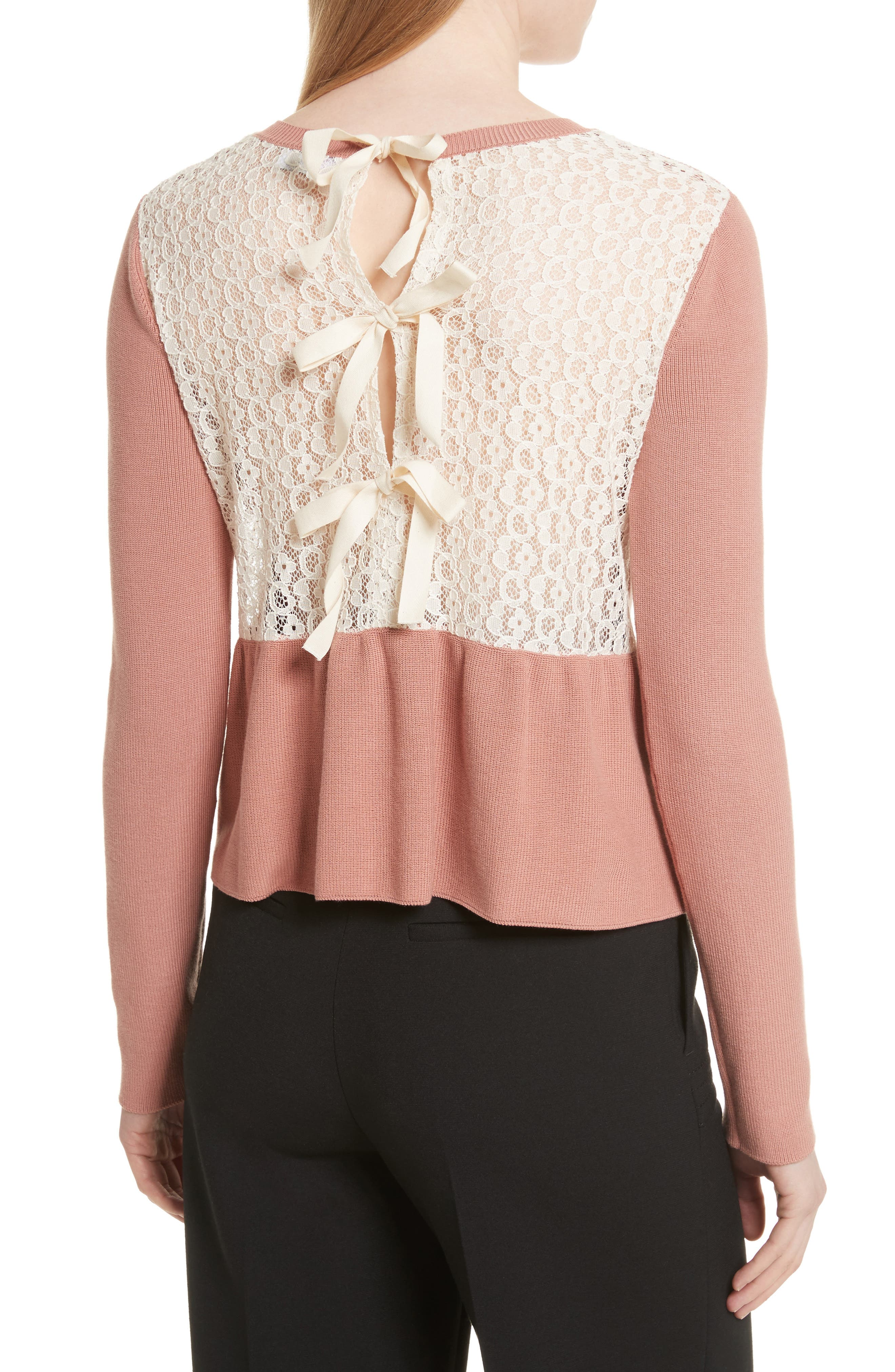 Lace Back Sweater,                             Alternate thumbnail 2, color,                             Pink/ Ivory