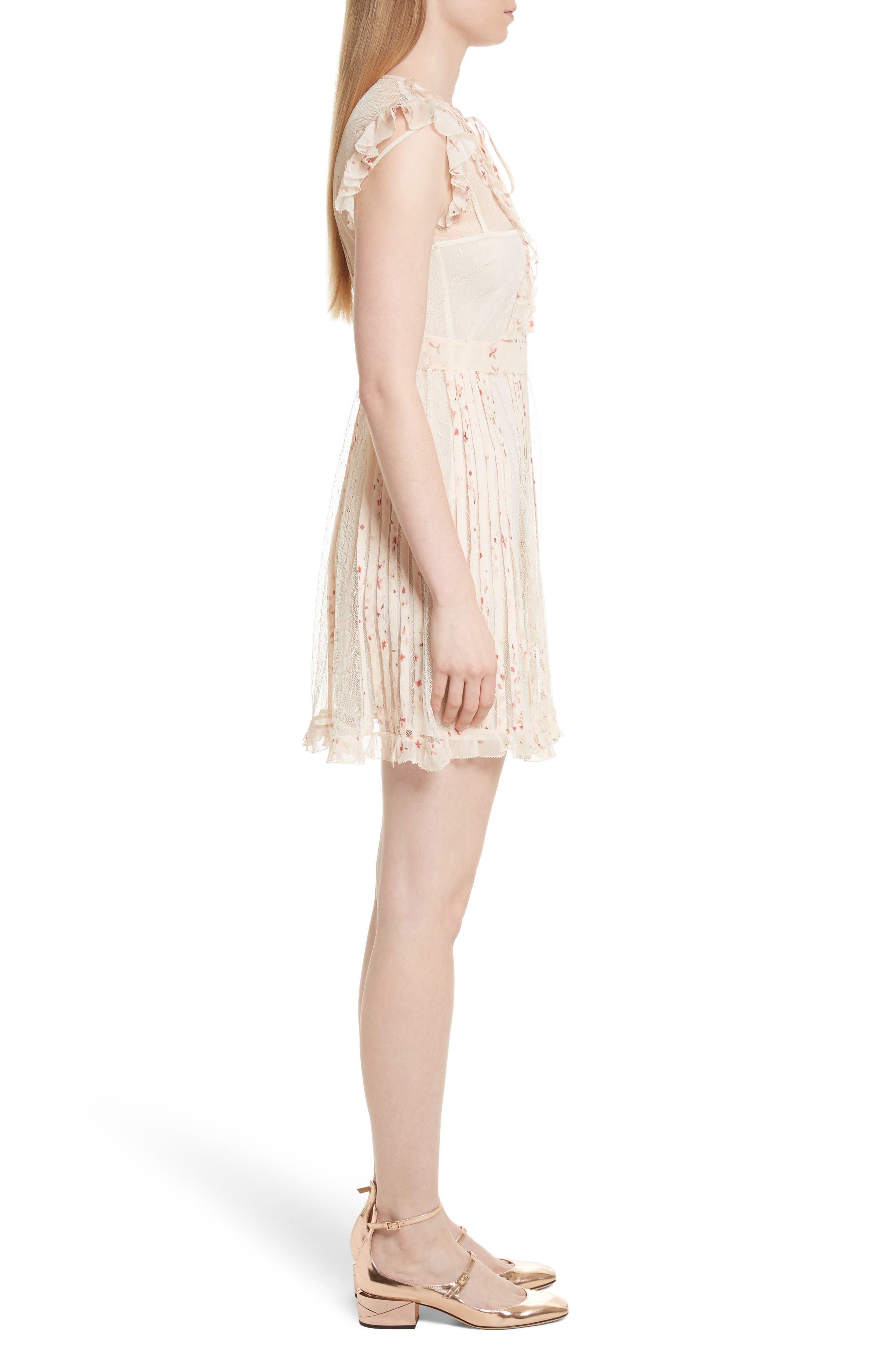 Point dEsprit Ruffle Trim Dress,                             Alternate thumbnail 3, color,                             Ivory