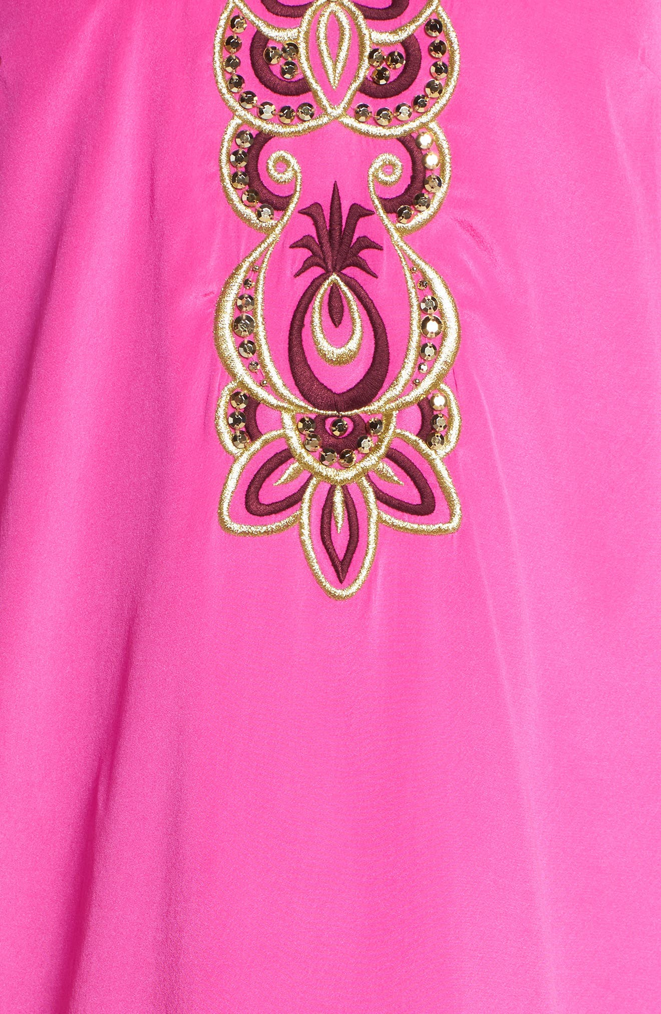 Stretch Silk Tunic Dress,                             Alternate thumbnail 5, color,                             Berry Fizz
