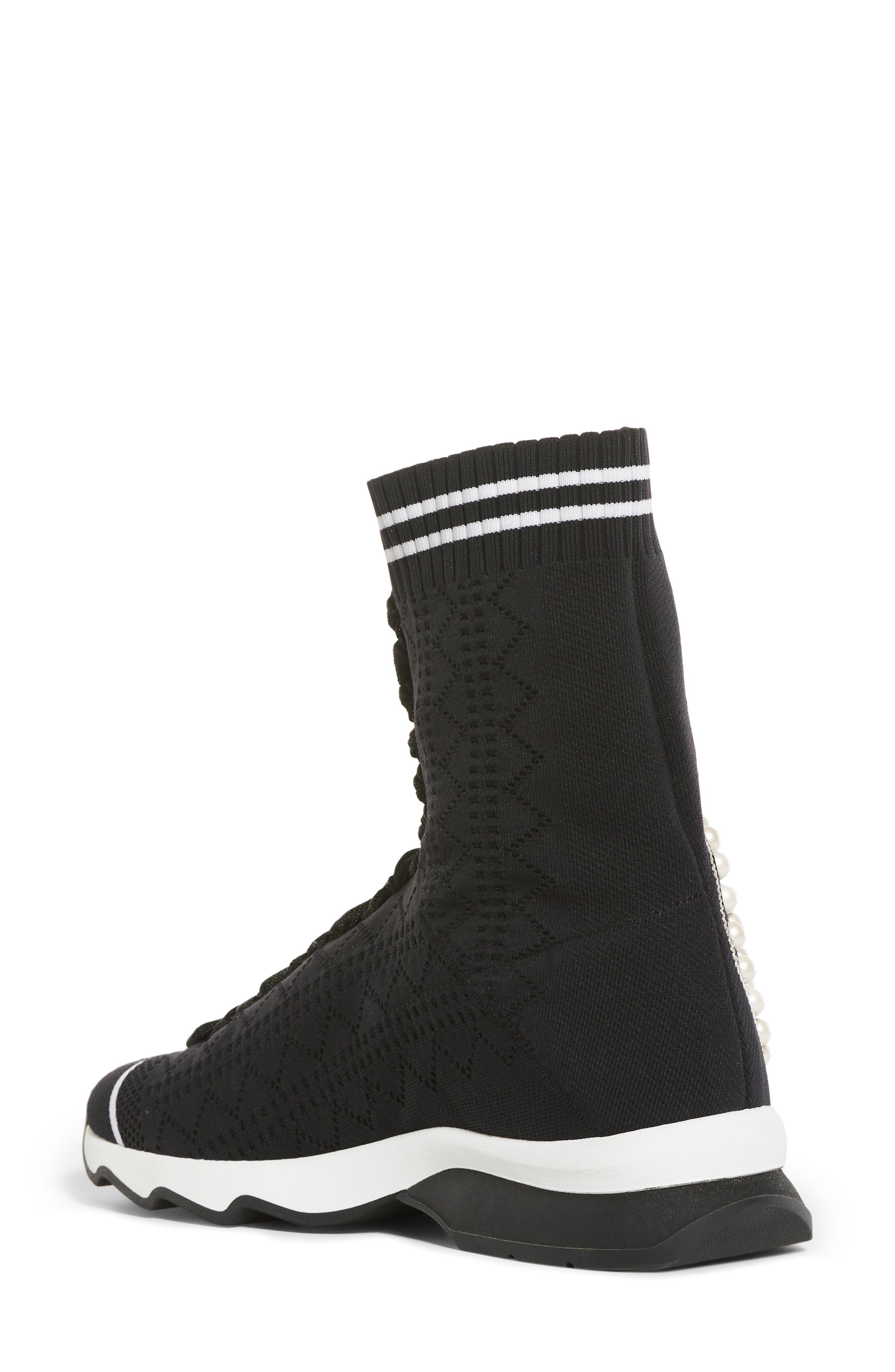 Rockoko Pearland Embellished Sock Sneaker,                             Alternate thumbnail 2, color,                             Black