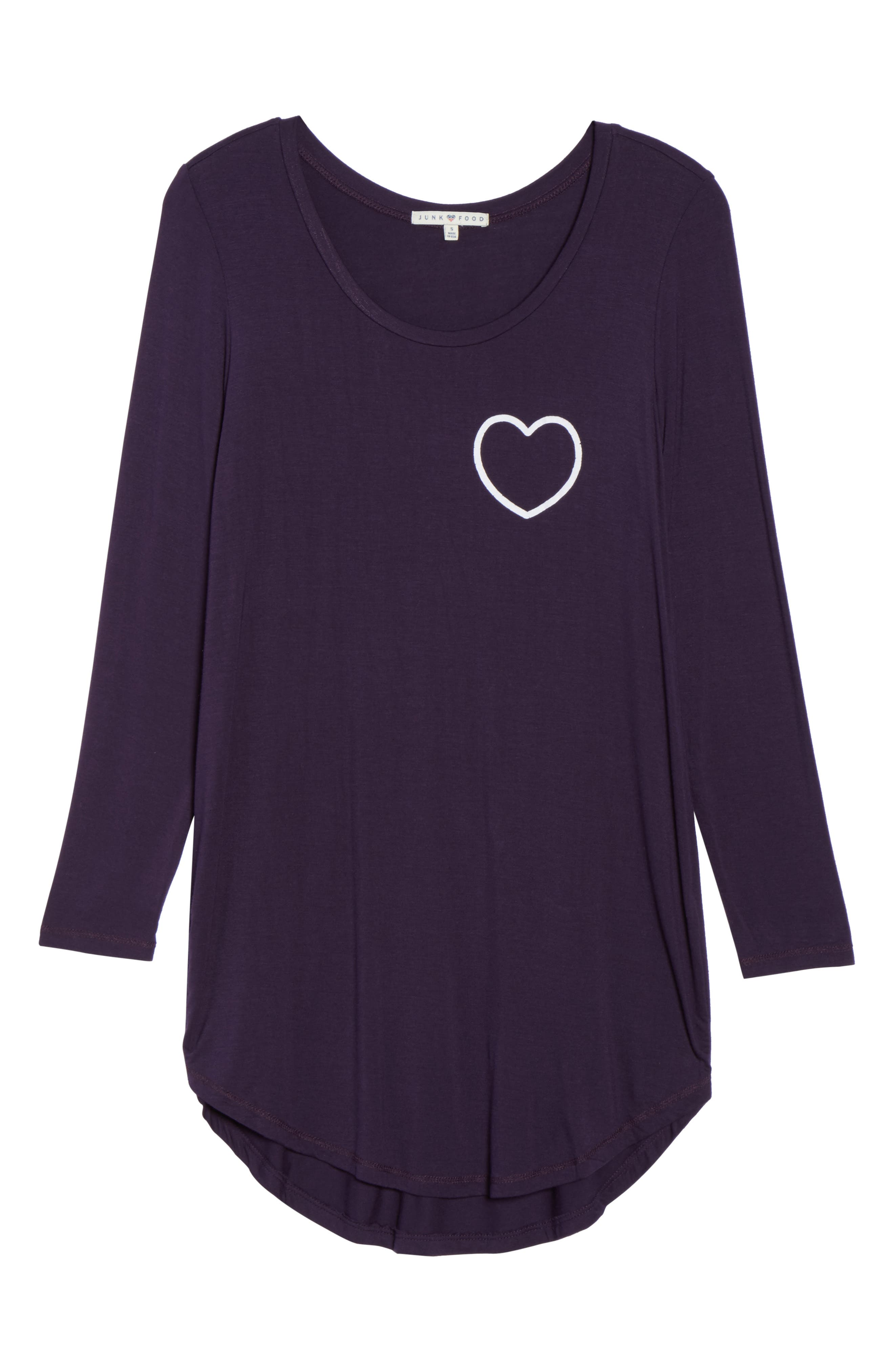 Heart Sleep Shirt,                             Alternate thumbnail 4, color,                             Anthra