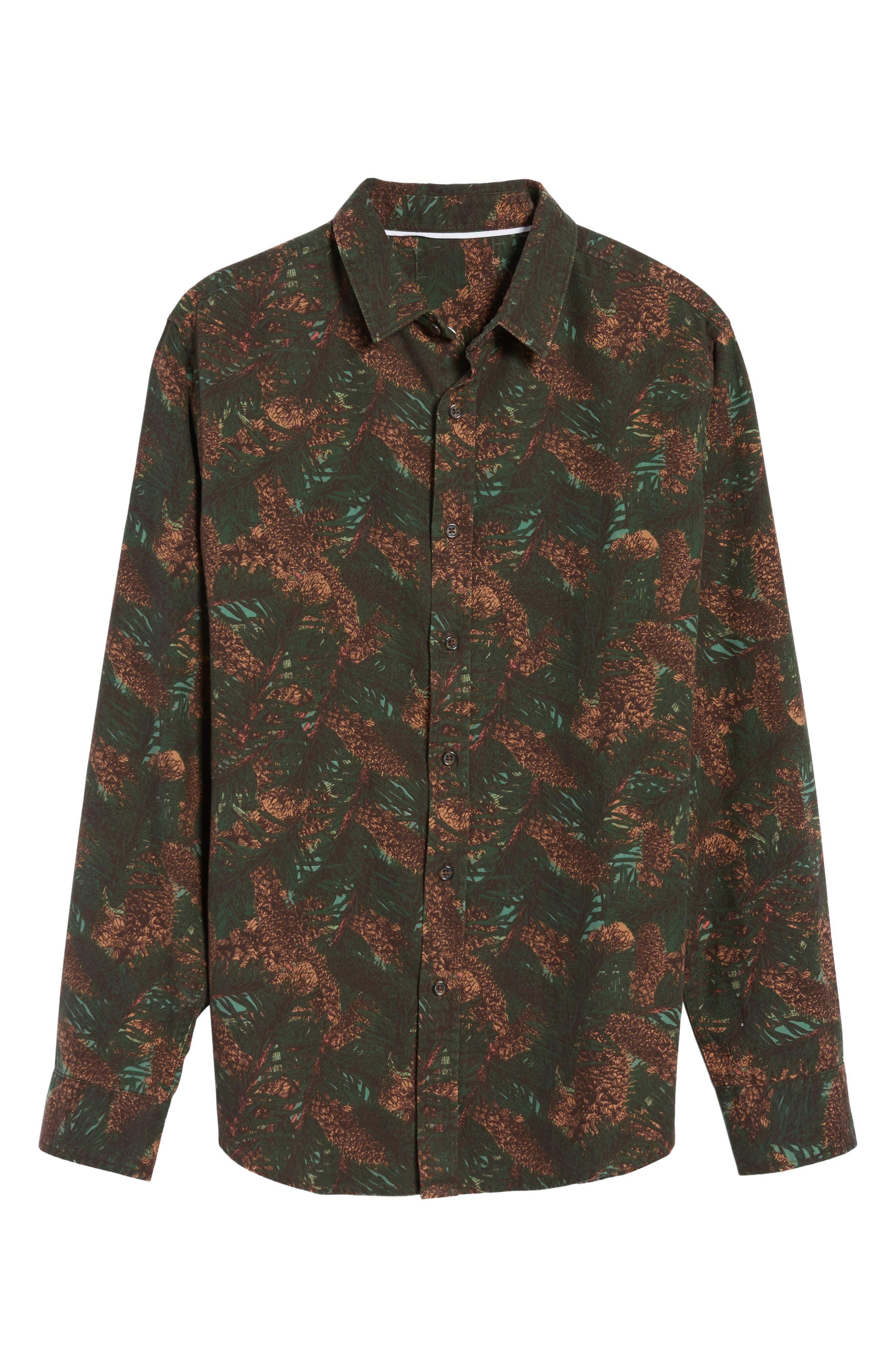 Print Flannel Shirt,                             Alternate thumbnail 6, color,                             Green Pinecone Print