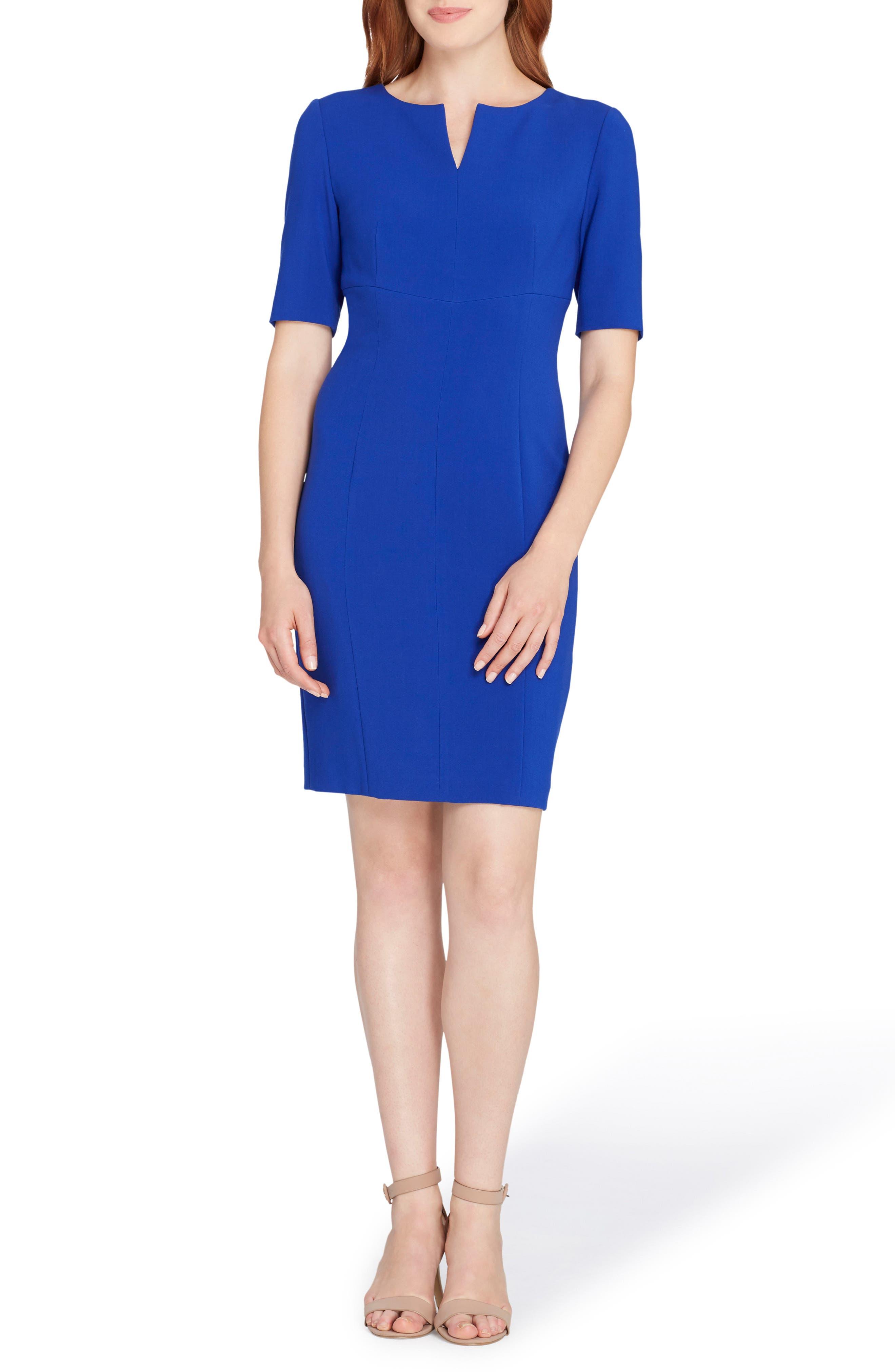 Notch Neck Sheath Dress,                             Main thumbnail 1, color,                             Brilliant Blue