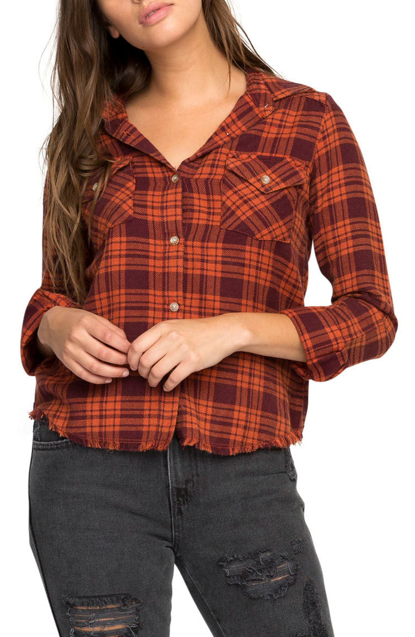 In a Haze Plaid Cotton Shirt,                         Main,                         color, Cinabar