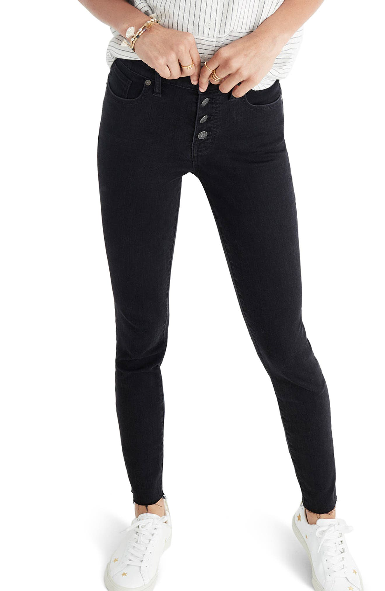 Alternate Image 1 Selected - Madewell 9-Inch Button High Waist Ankle Skinny Jeans (Berkeley Wash)