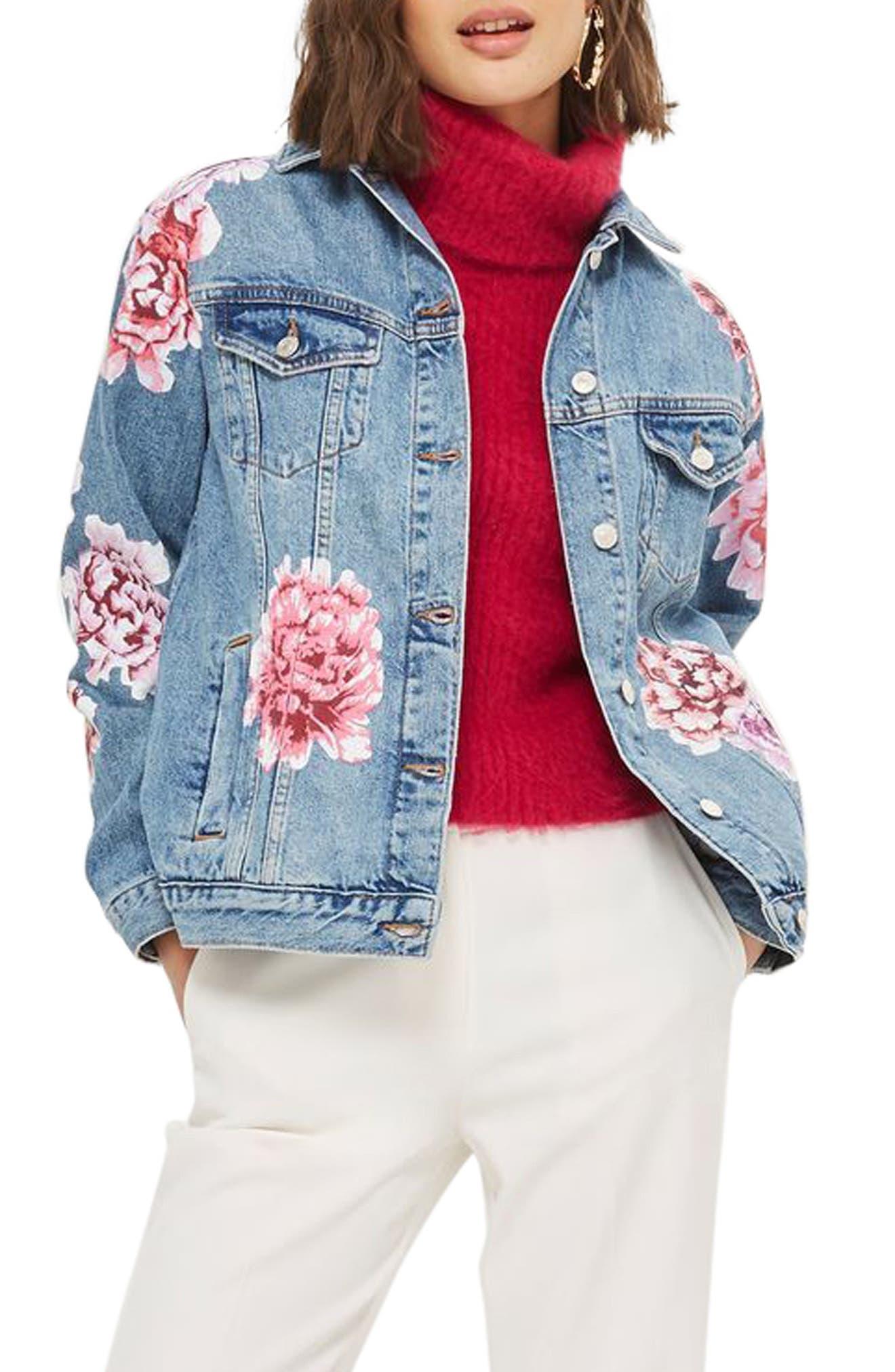 Peony Painted Denim Jacket,                             Main thumbnail 1, color,                             Mid Denim Multi