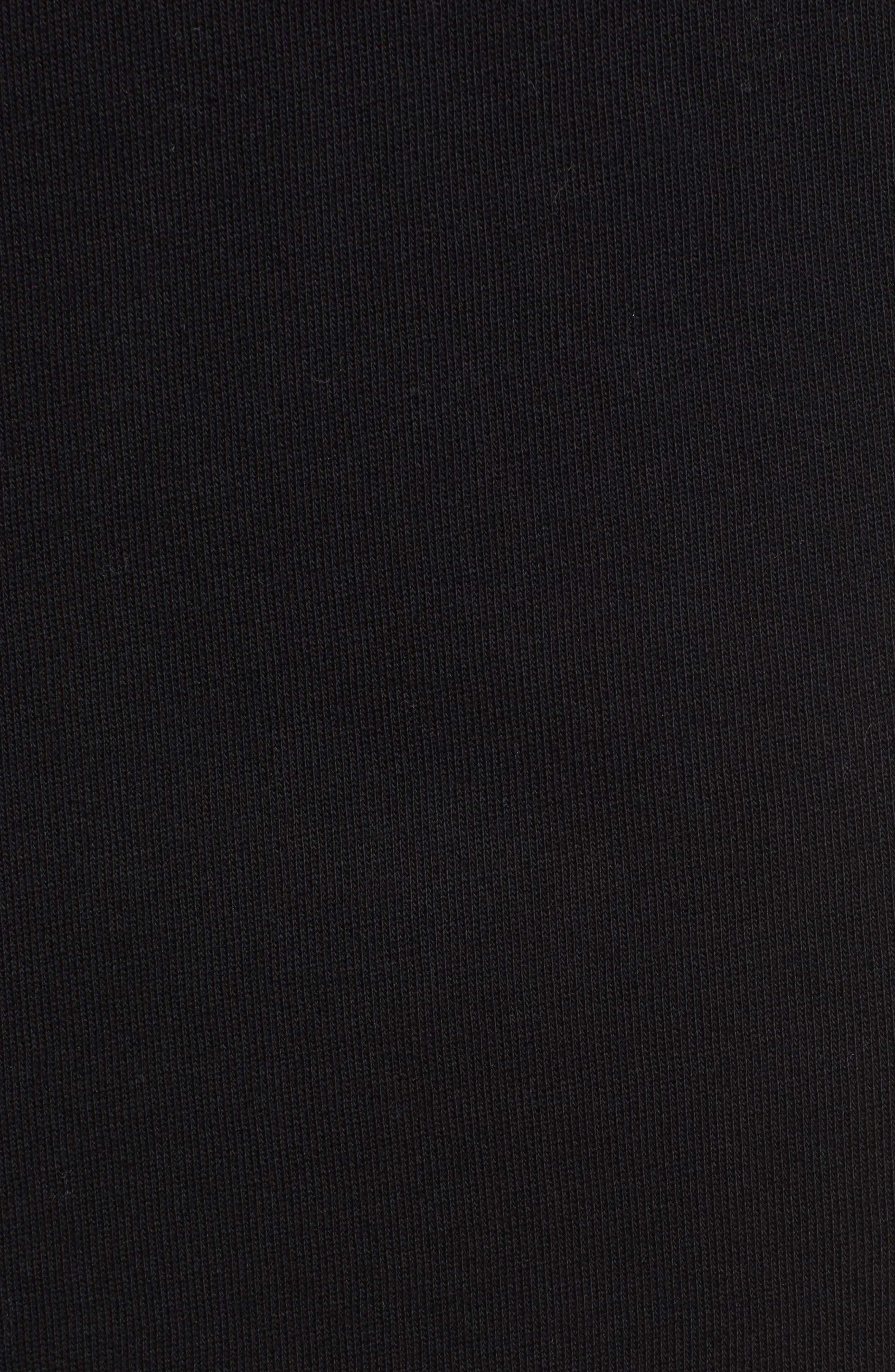 Lace-Up Sweatshirt Dress,                             Alternate thumbnail 5, color,                             Black