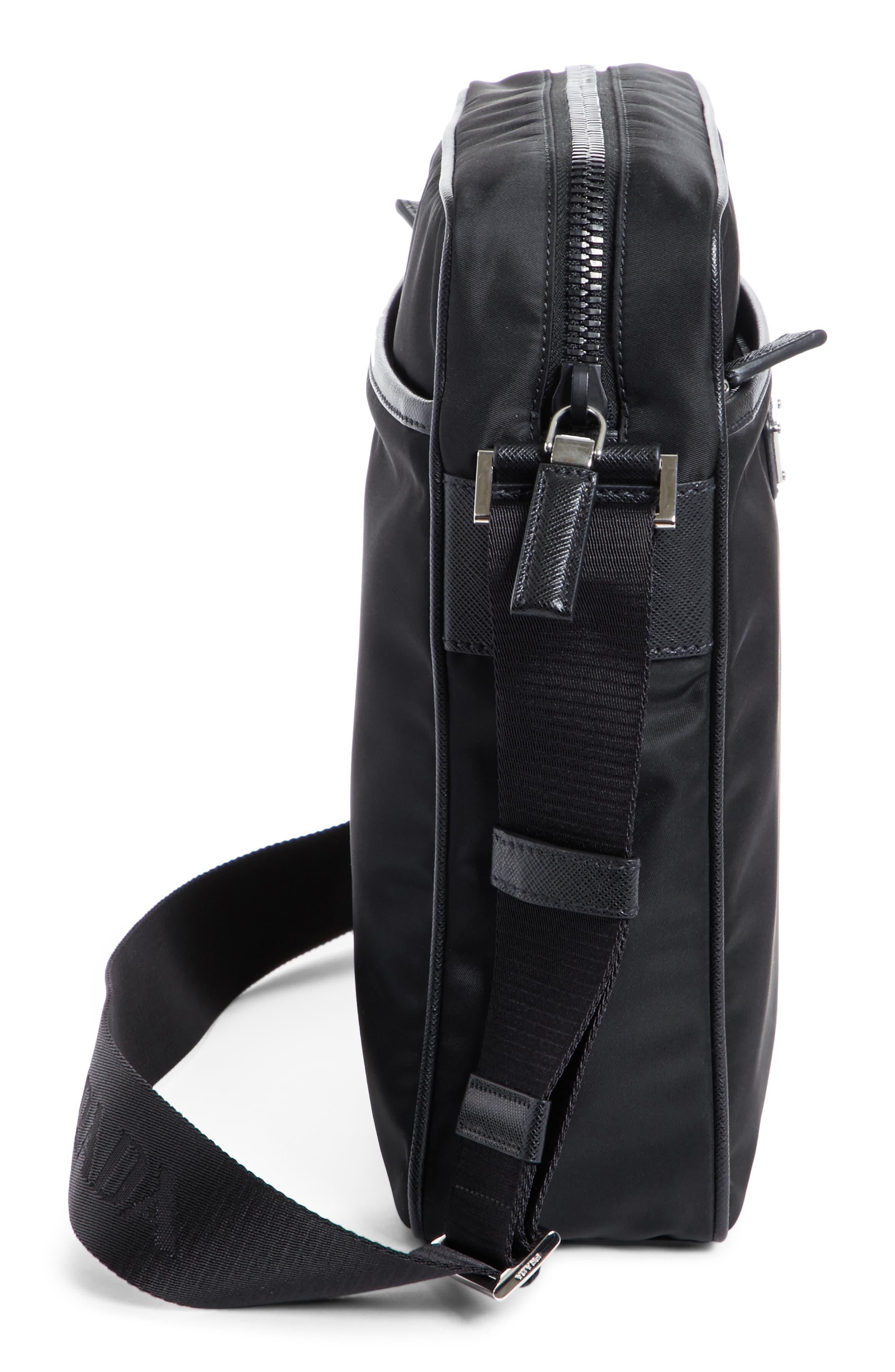 Saffiano Leather Crossbody Bag,                             Alternate thumbnail 4, color,                             Nero