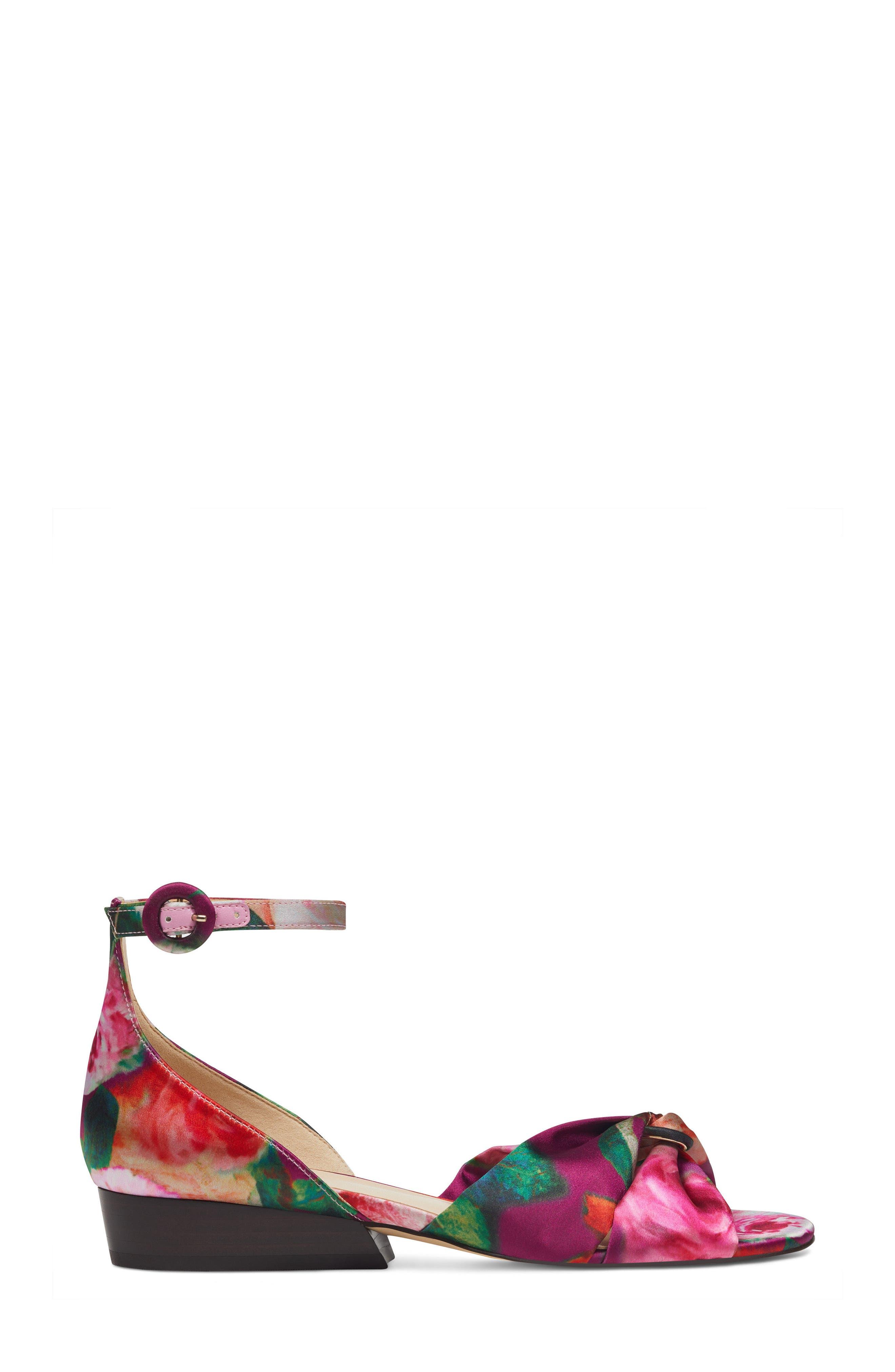 Lumsi Ankle Strap Sandal,                             Alternate thumbnail 3, color,                             Pink Multi Satin