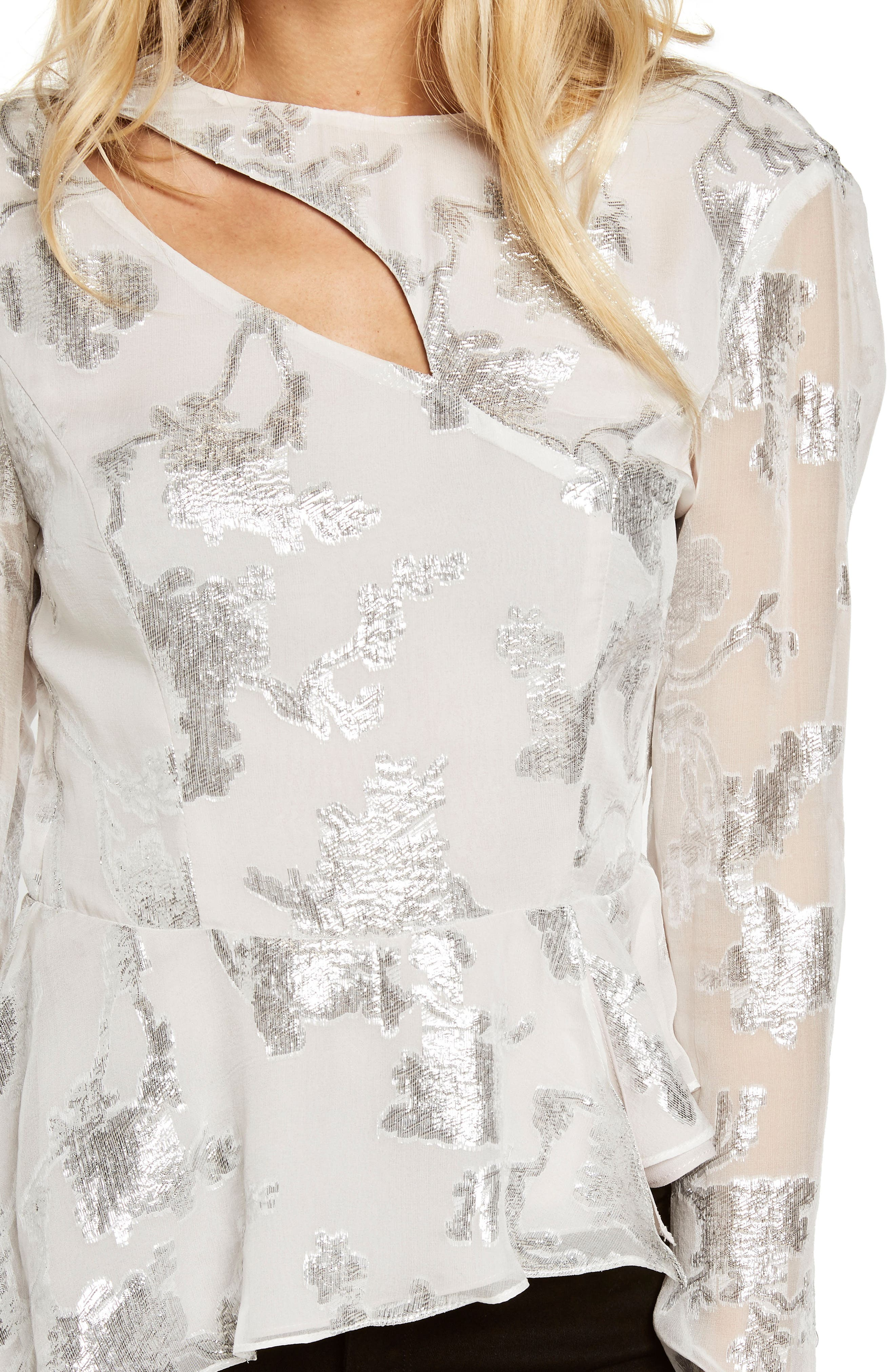 Alternate Image 4  - Bardot Metallic Cutout Silk Blend Blouse