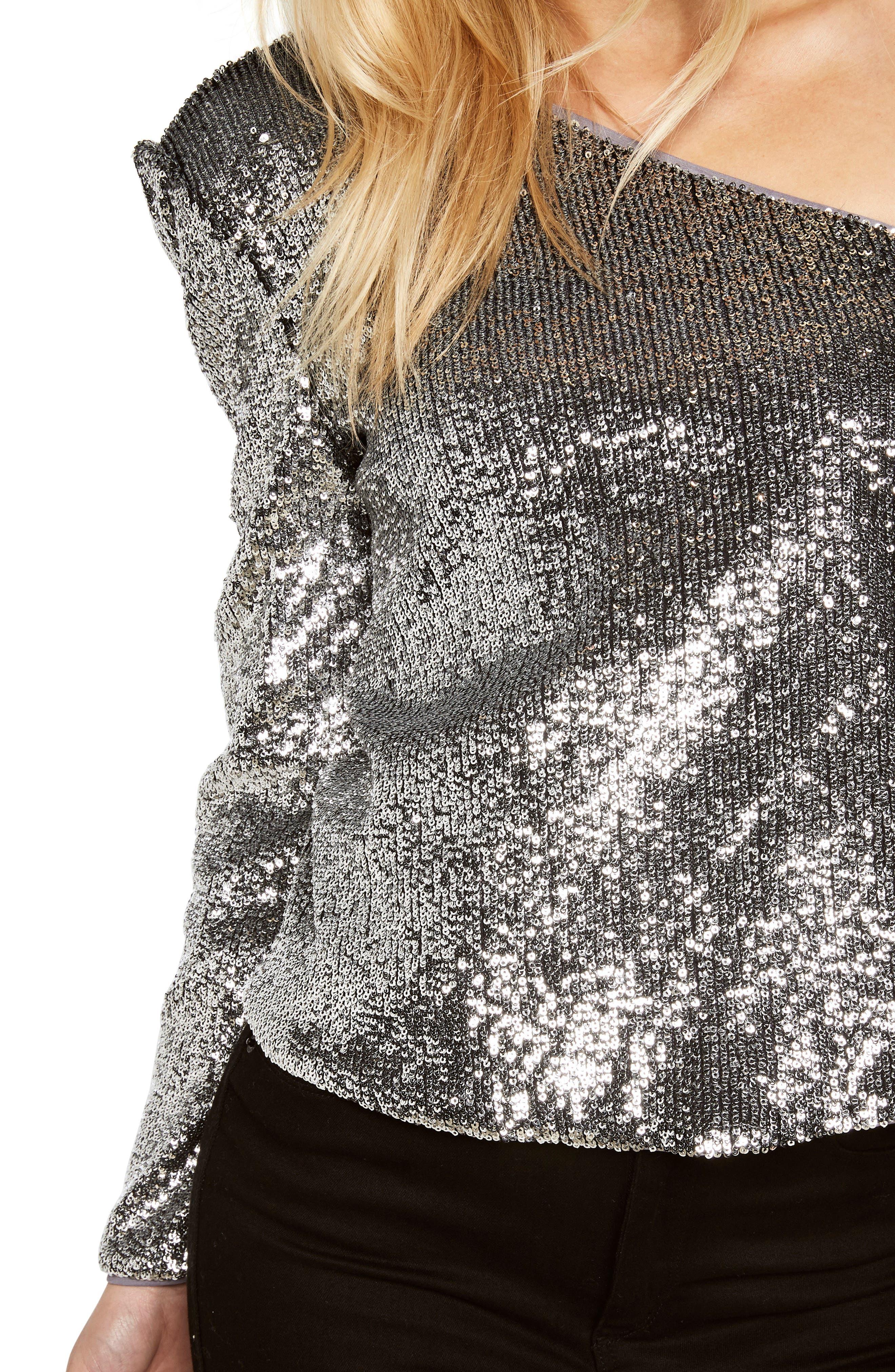 Sequin One-Shoulder Top,                             Alternate thumbnail 4, color,                             Silver